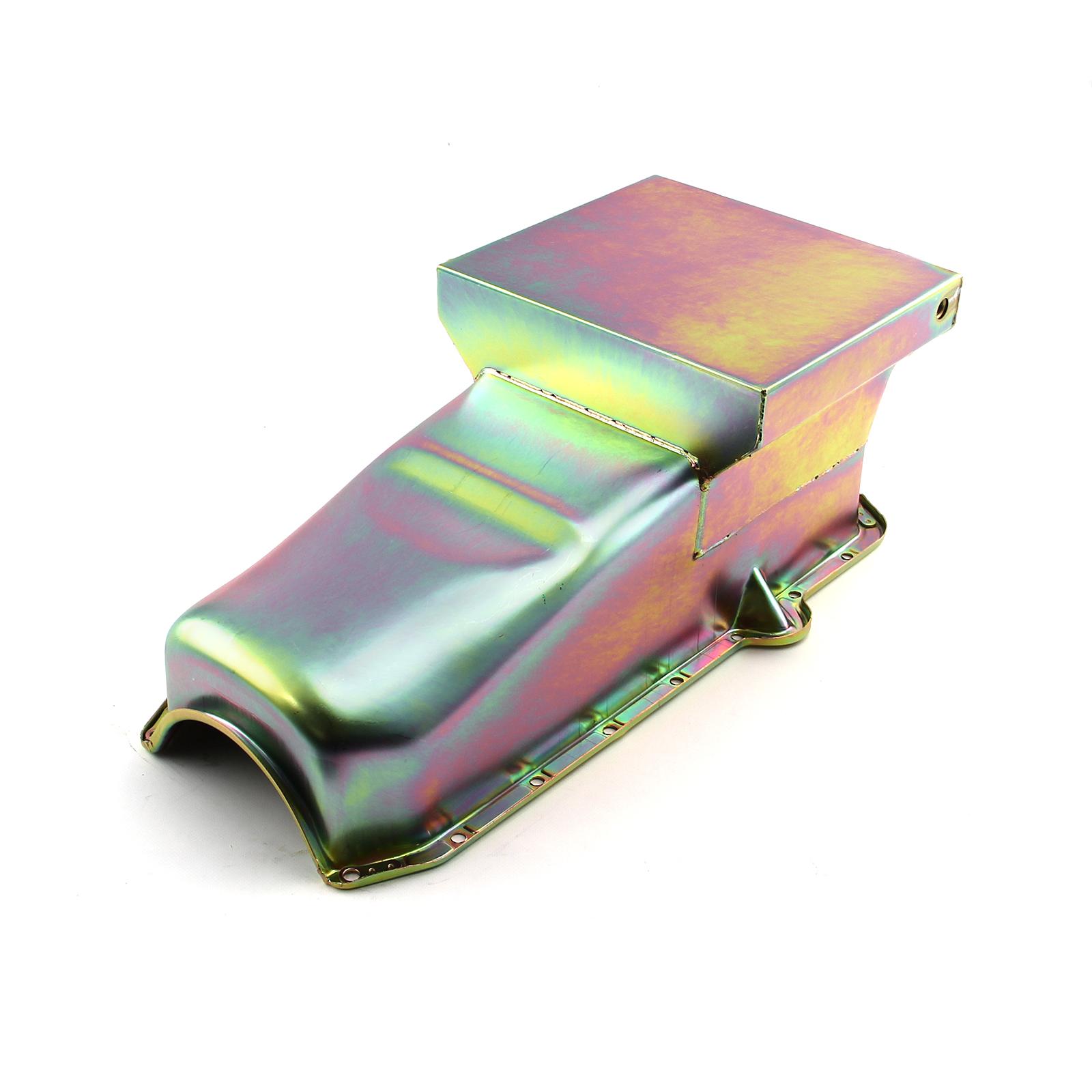 Chevy SBC 350 7Qt Drag Rear Sump RH Side 2Pcs Rms Zinc Oil Pan