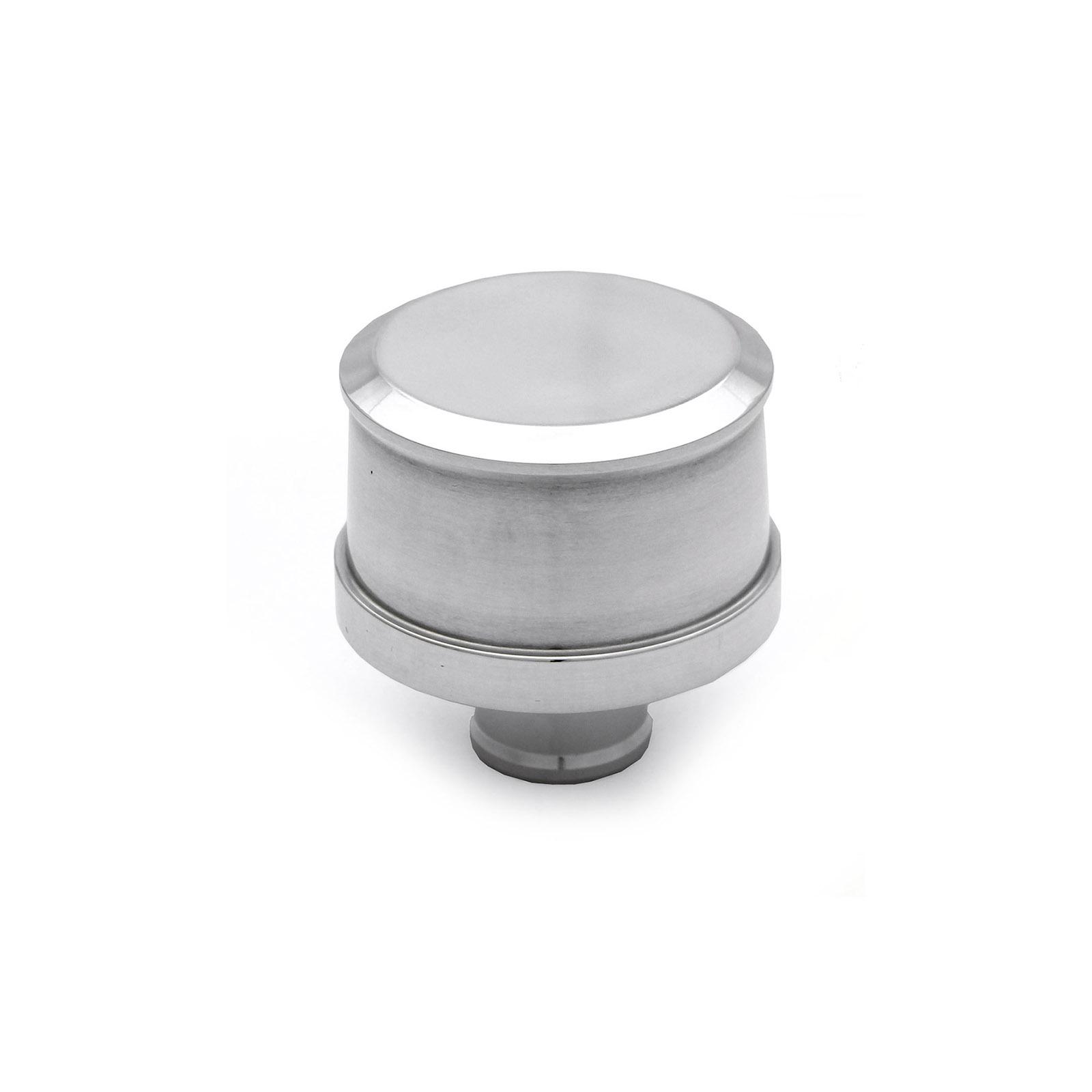 "Polished Aluminum Plain Valve Cover Breather (1"" Neck Push In)"