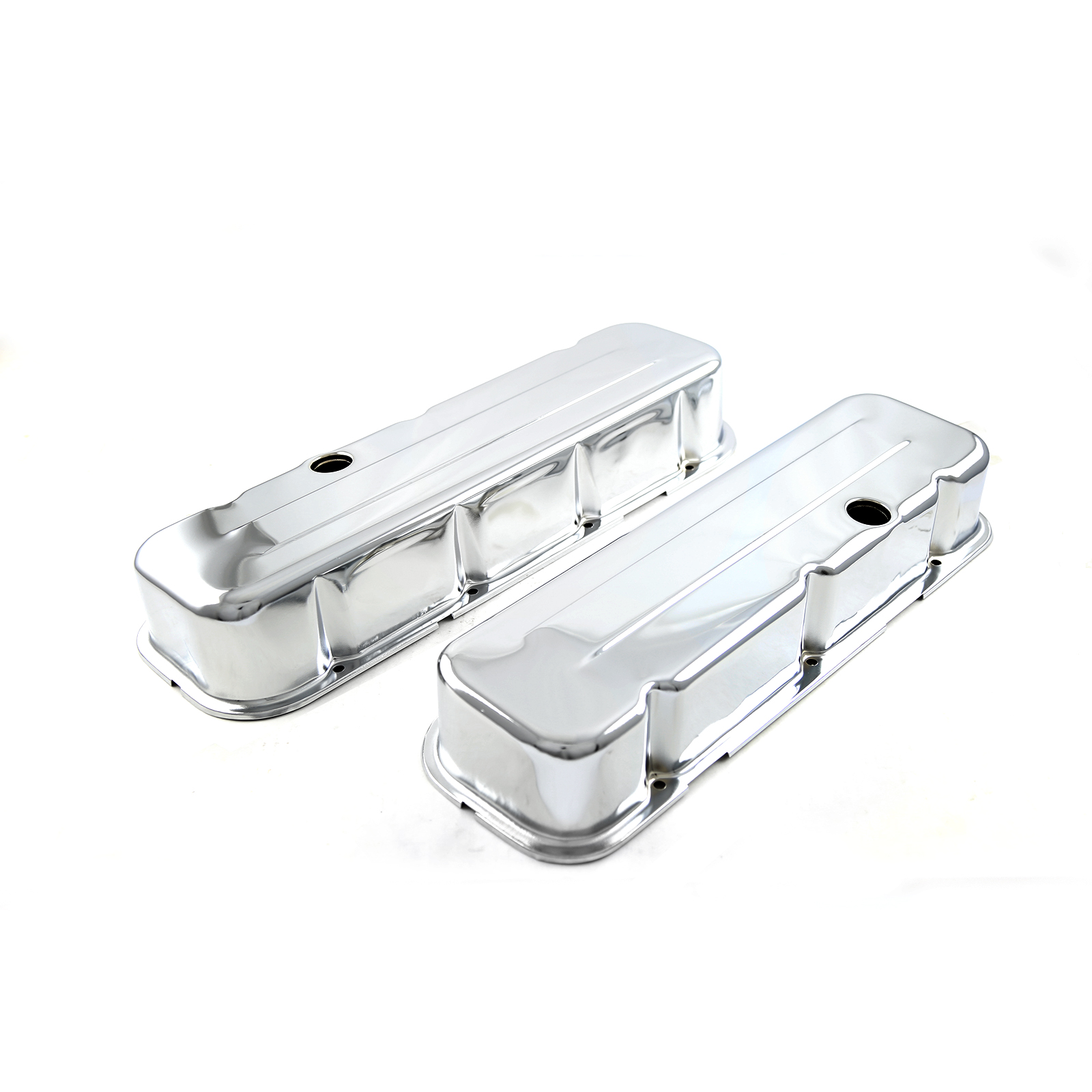 Chevy BBC 454 Chrome Valve Covers - Tall w/ Hole