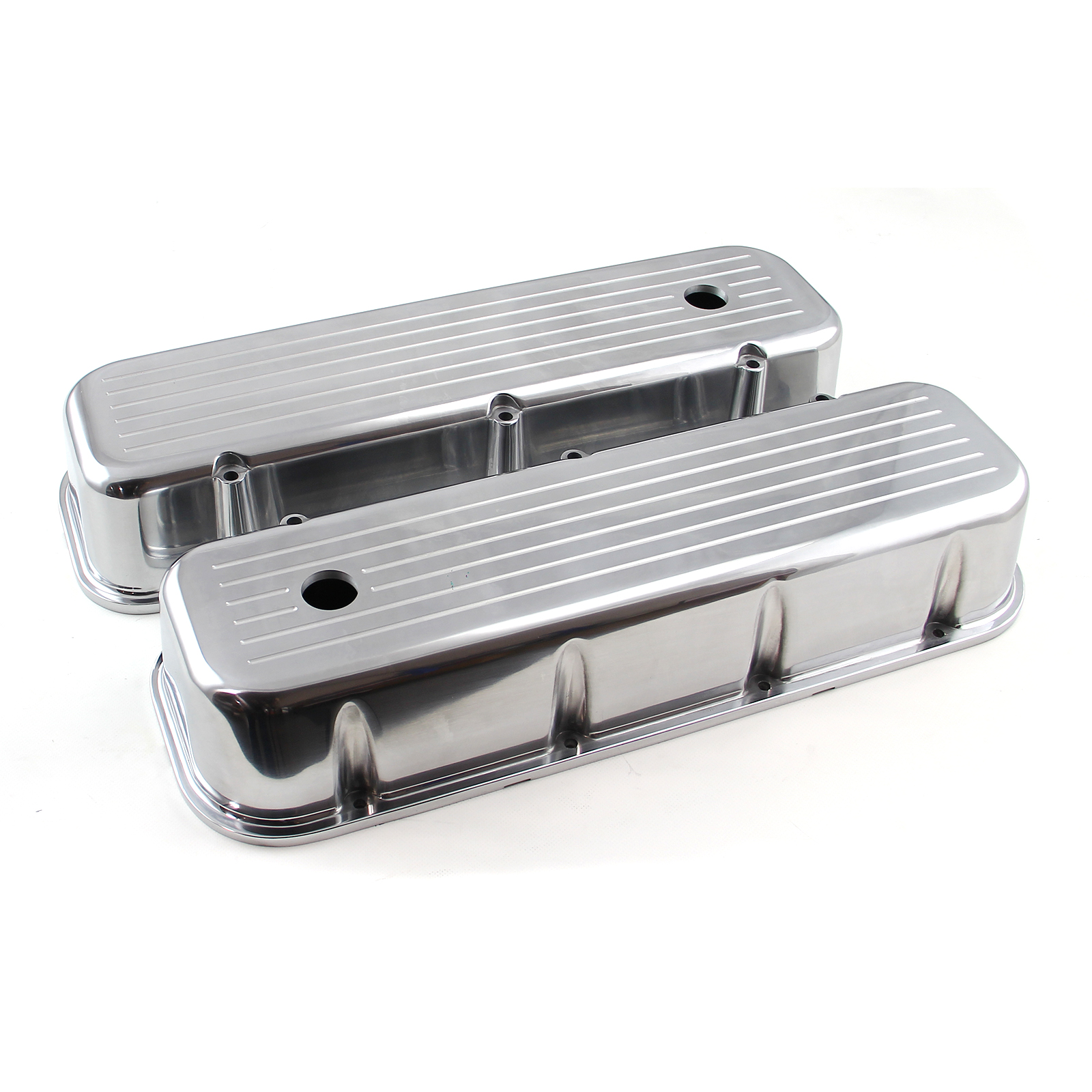 Chevy BBC 454 Polished Aluminum Ball Milled Valve Cover - Tall w/ Hole