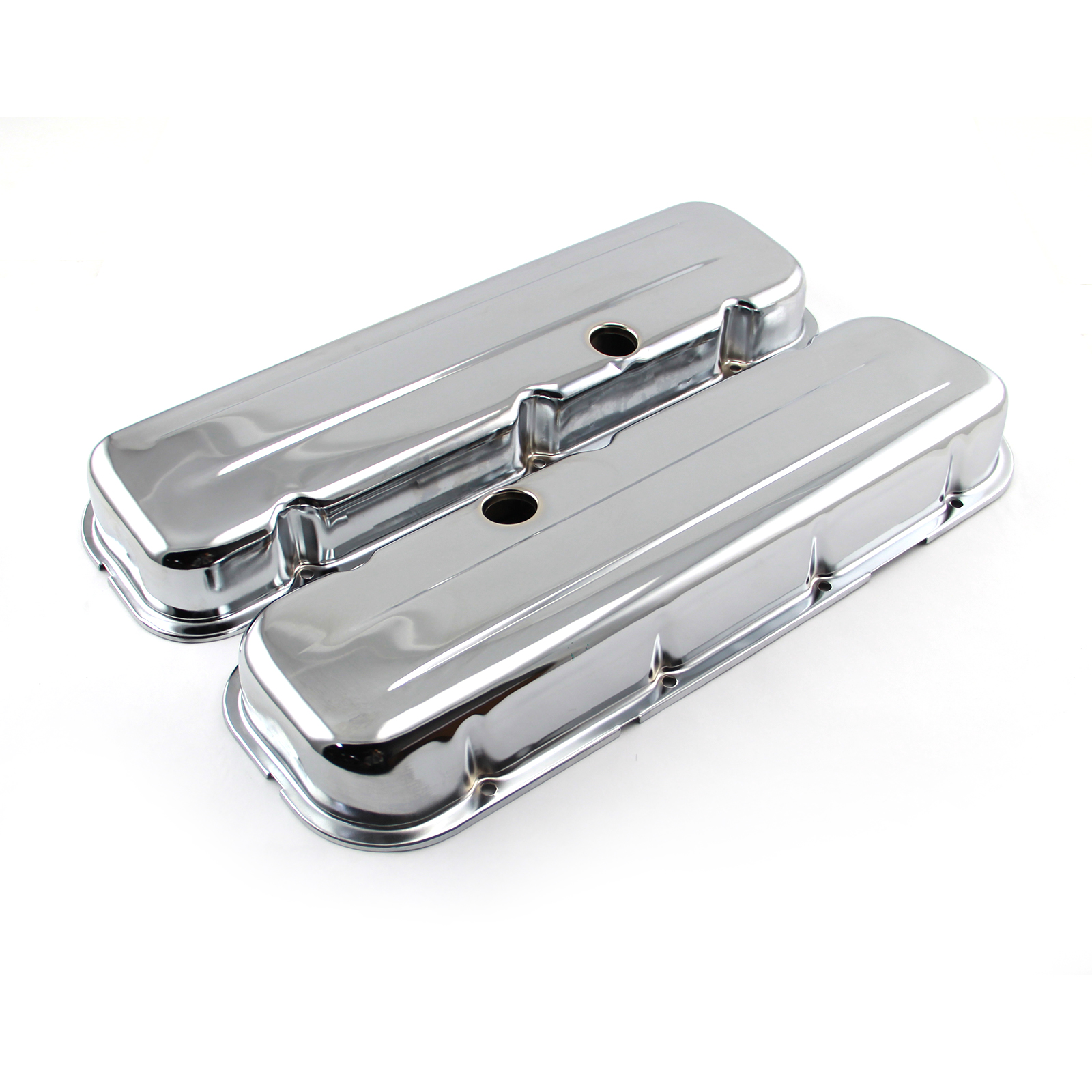 Chevy BBC 454 Chrome Steel Valve Covers - Short w/ Baffled Hole