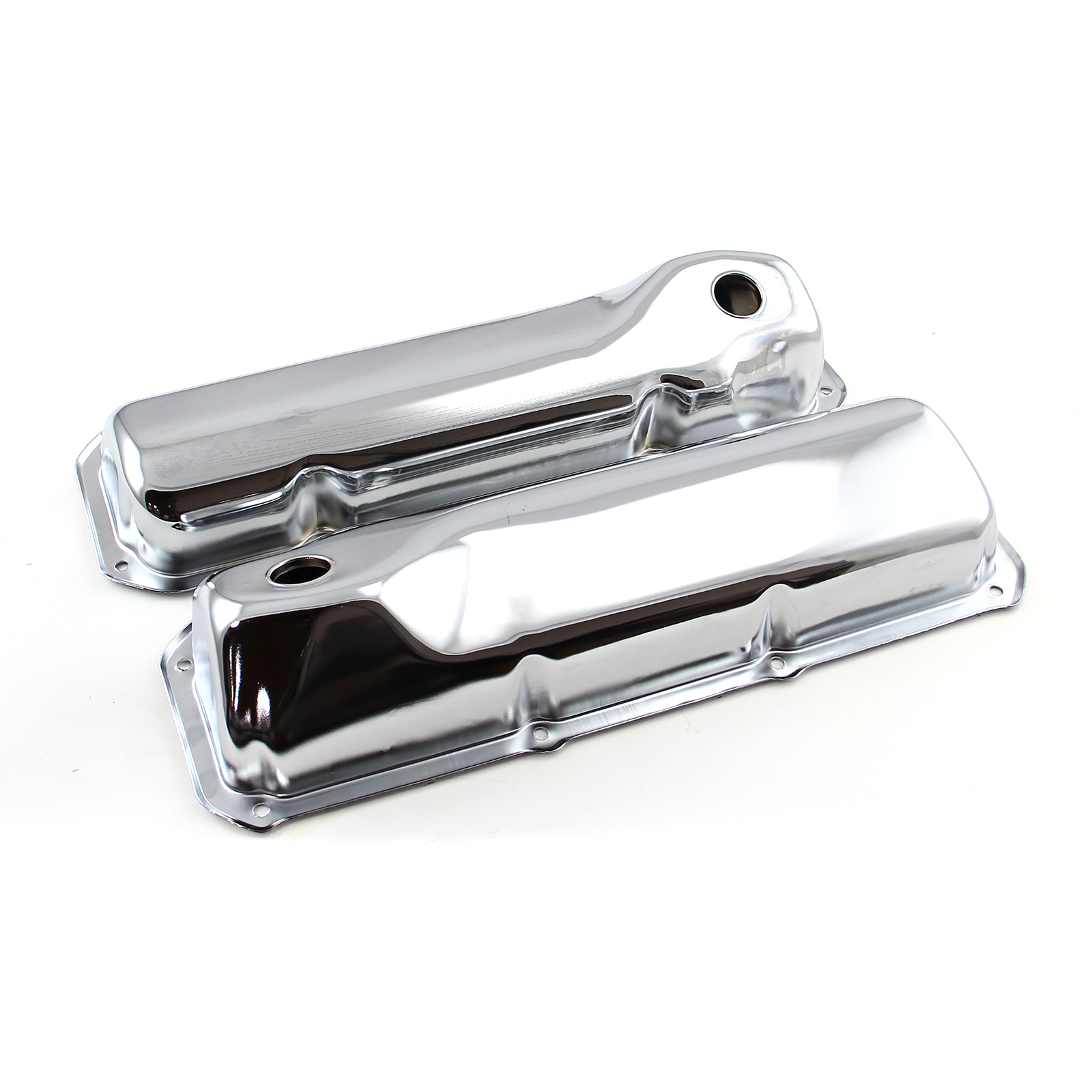 """Ford 302 351C Cleveland Chrome Steel Valve Covers - 3 5/8"""" Tall w/ Baffled Hole"""
