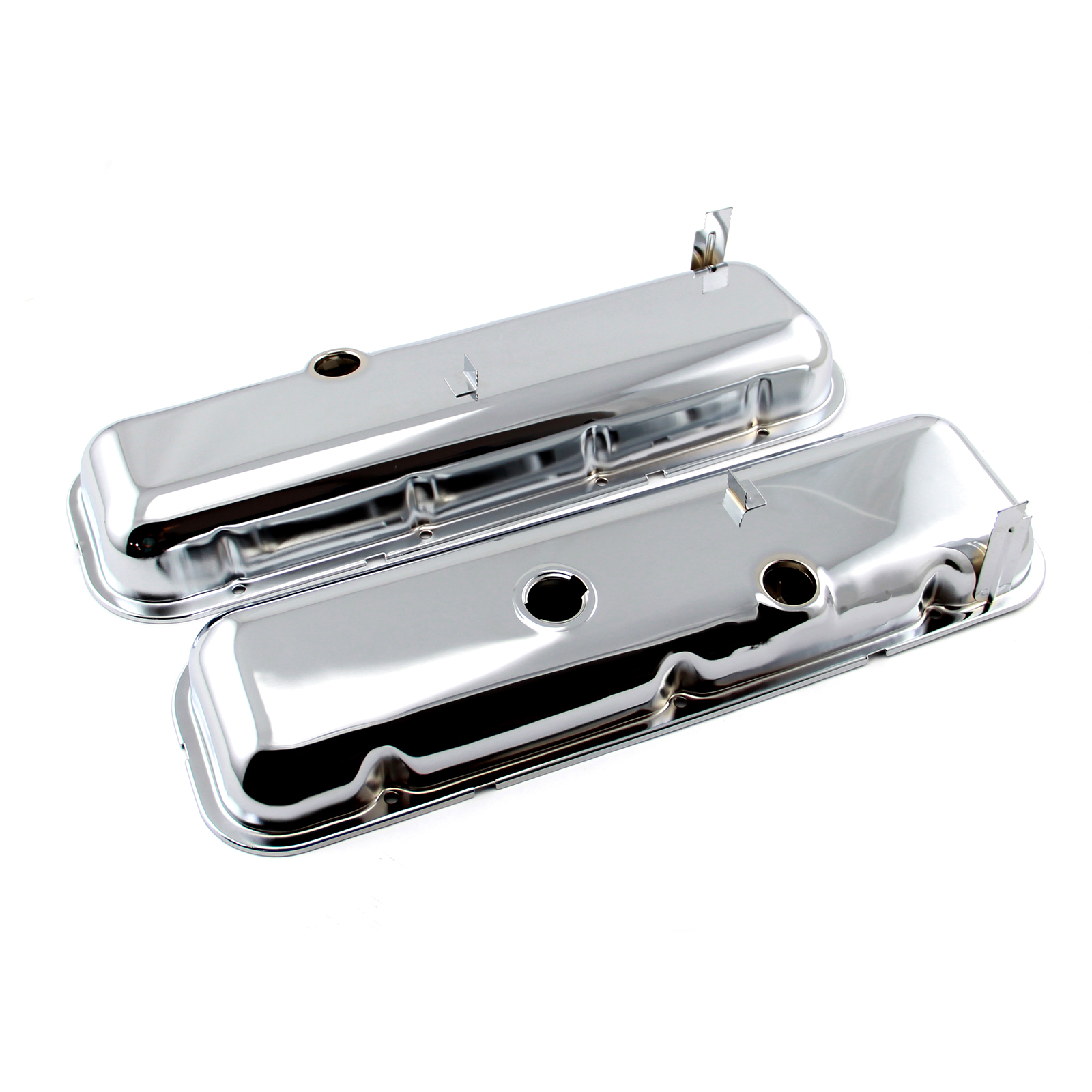 Chevy BBC 454 STD Style Chrome Valve Covers - Short w/ Baffled Hole