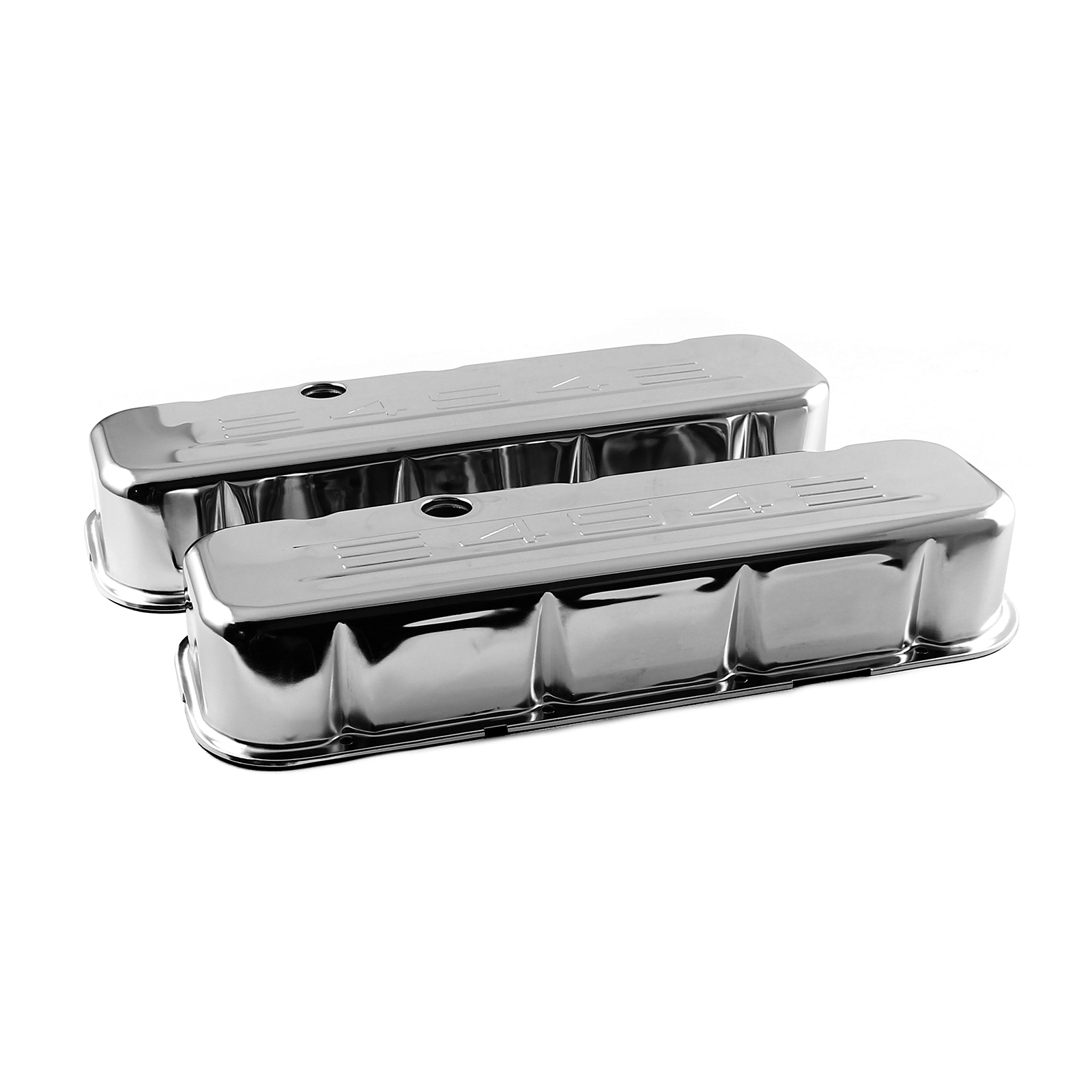 "Chevy BBC 454 Chrome ""454 Stamped"" Steel Valve Covers - Tall w/ Baffled Hole"