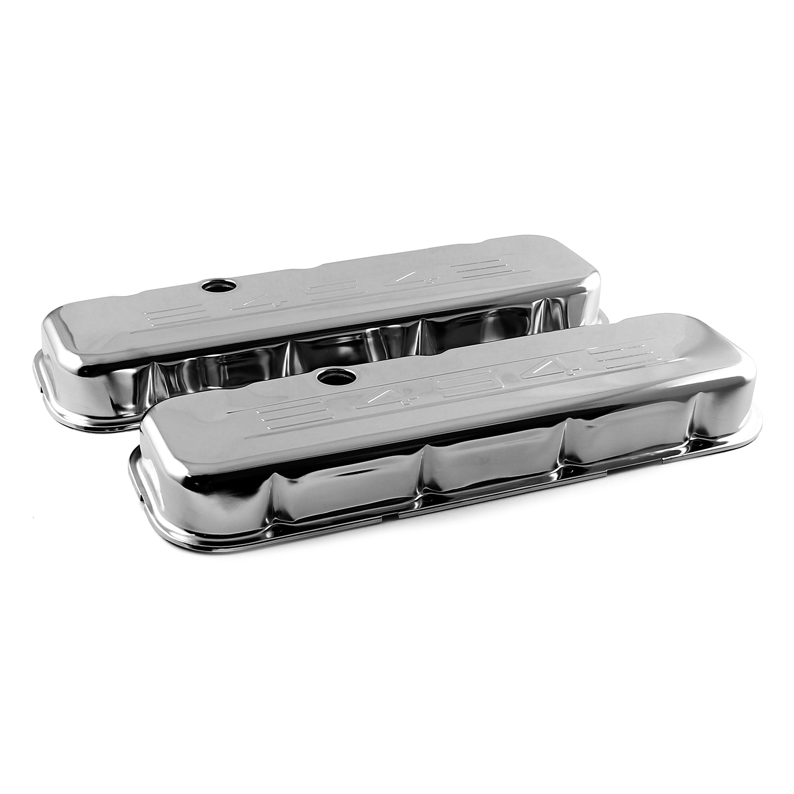 "Chevy BBC 454 Chrome ""454 Stamped"" Steel Valve Covers - Short w/ Baffled Hole"
