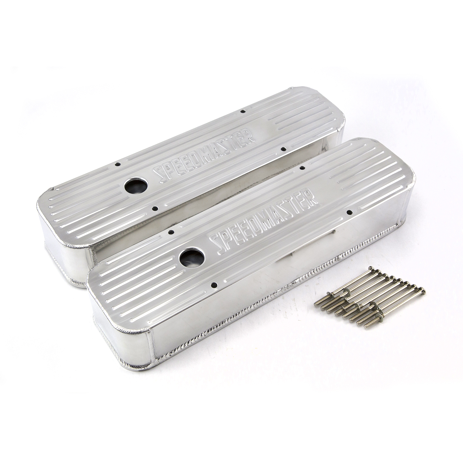 Chevy SBC 350 Polished Anodized Fabricated Valve Covers - Tall w/ Hole