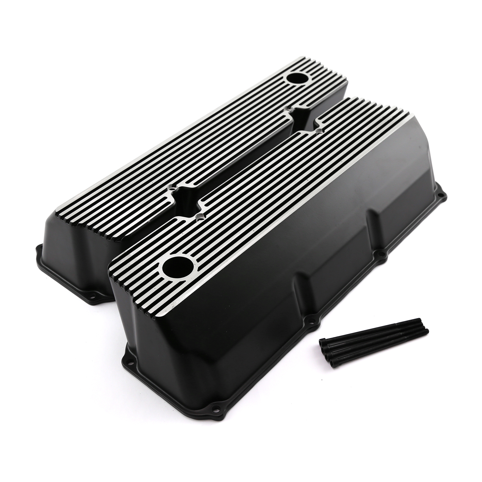 Ford 302 351C Cleveland Black Finned Aluminum Valve Covers