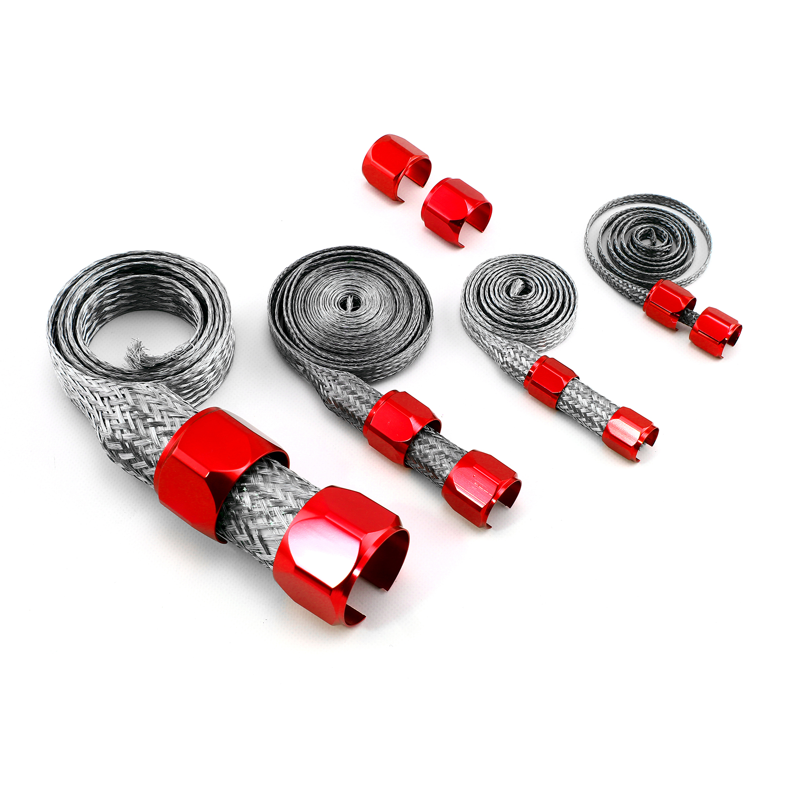 Universal Stainless Steel Braide Hose and End Sleeve Kit - Red