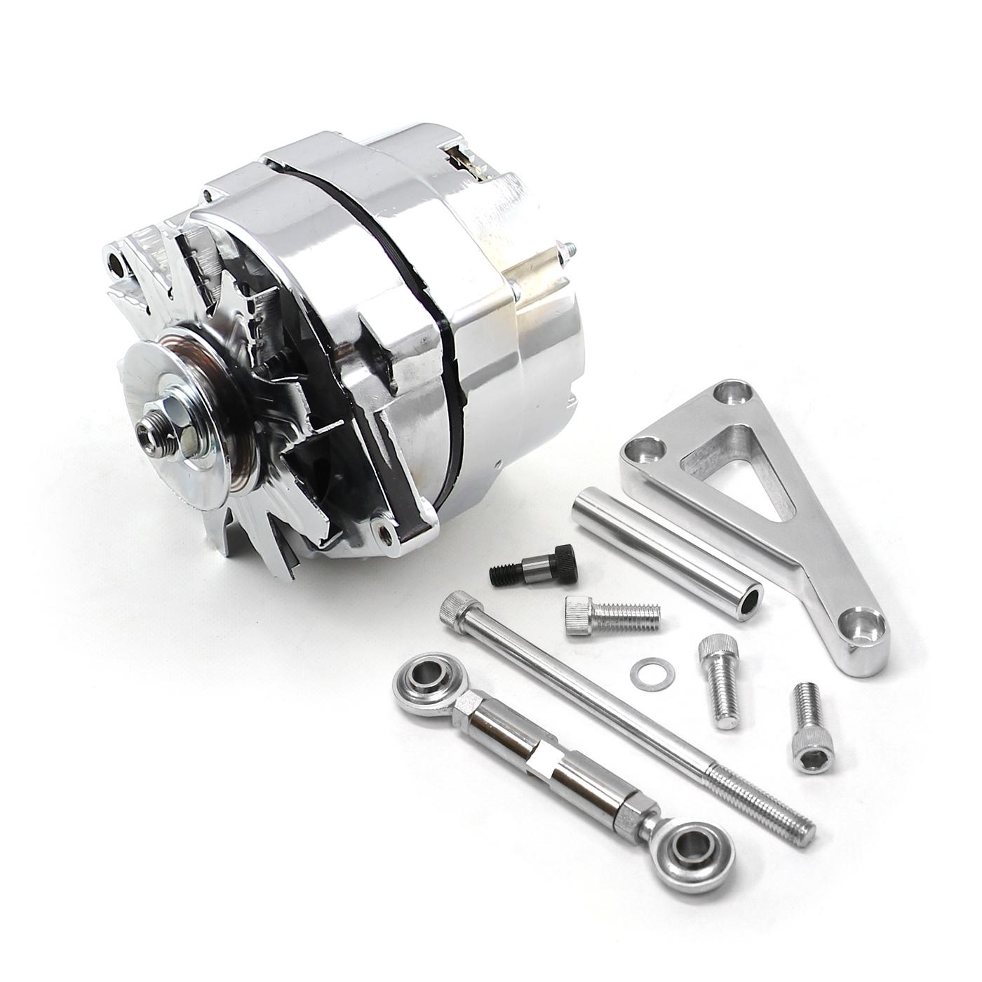 Chevy SBC 350 100 Amp 1 Wire Alternator & LWP Aluminum Bracket Kit Polished