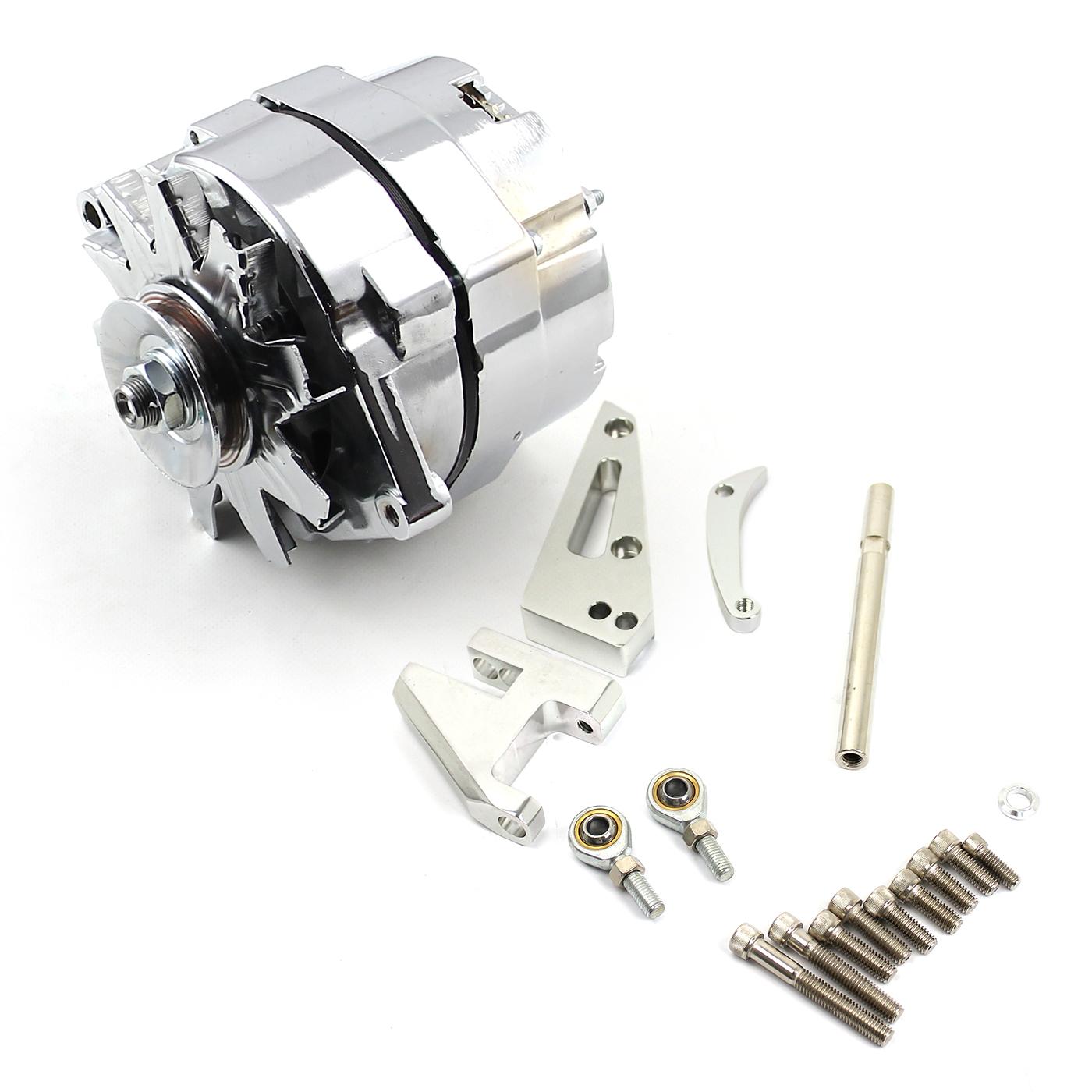 Chevy SBC 350 100 Amp 1 Wire Alternator & SWP Aluminum Bracket Kit Polished