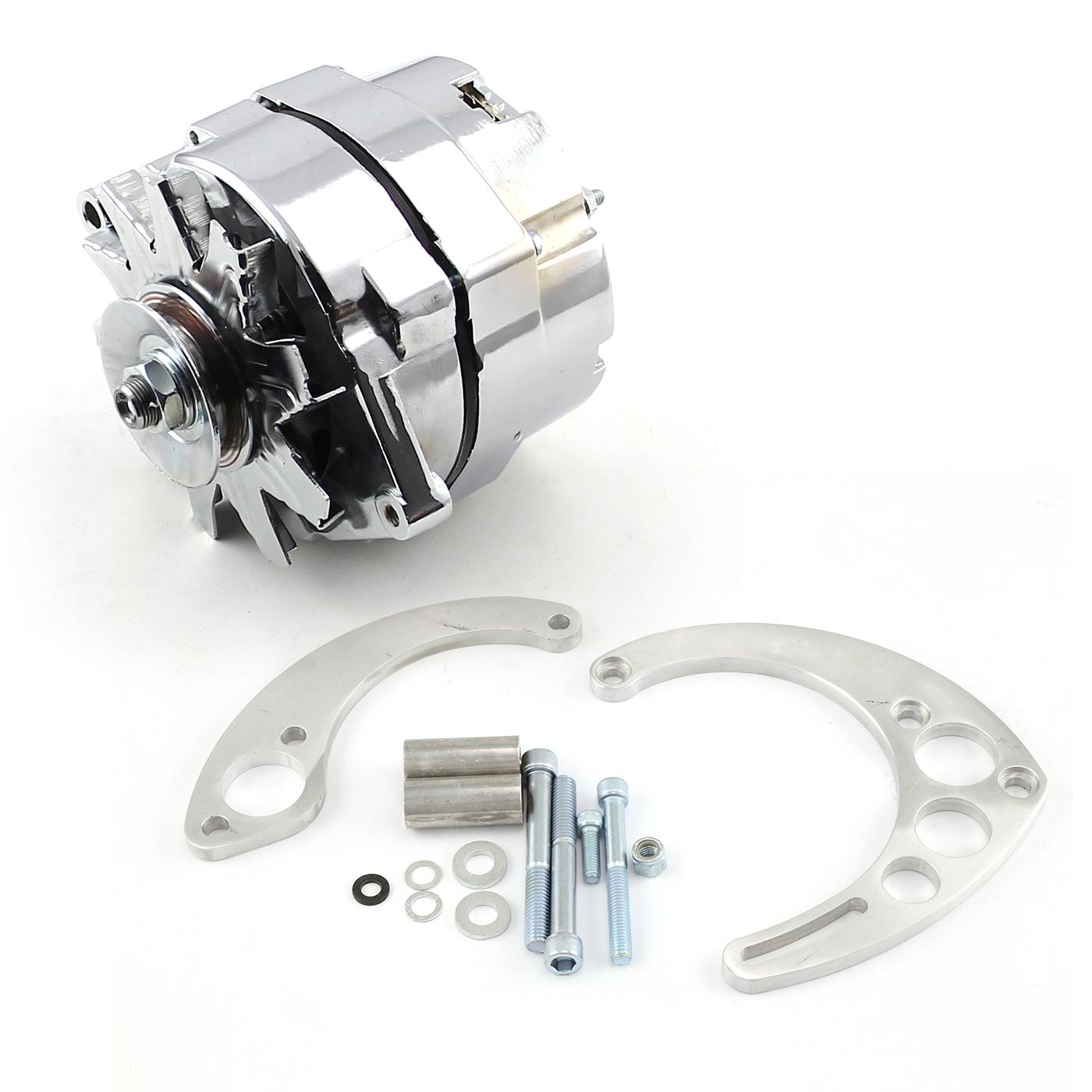 Chevy BBC 454 100 Amp 1 Wire Alternator & Short/Electric Pump Billet Bracket Kit