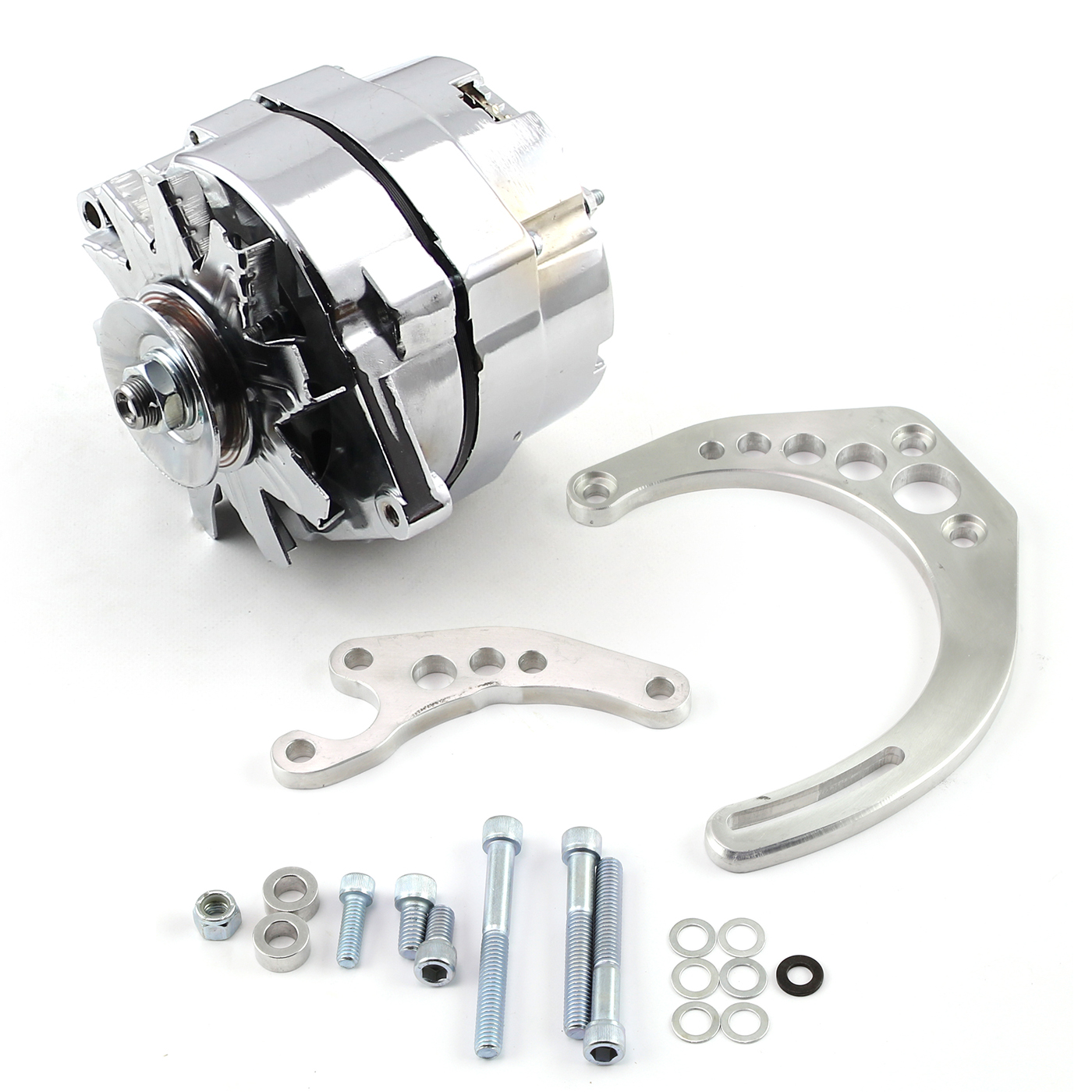 Chevy SBC Camel Hump Fuelie 100 Amp 1 Wire Alternator & LWP Billet Bracket Kit