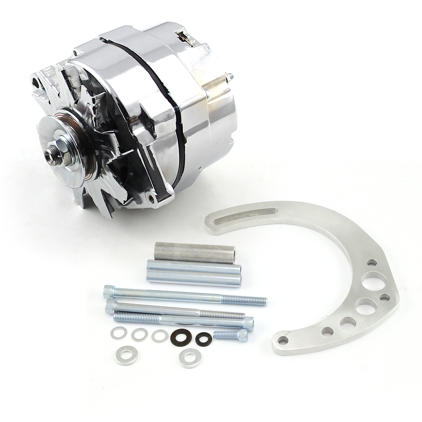 Chevy SBC 350 100 Amp 1 Wire Alternator & Low Mount Electric Pump Bracket Kit
