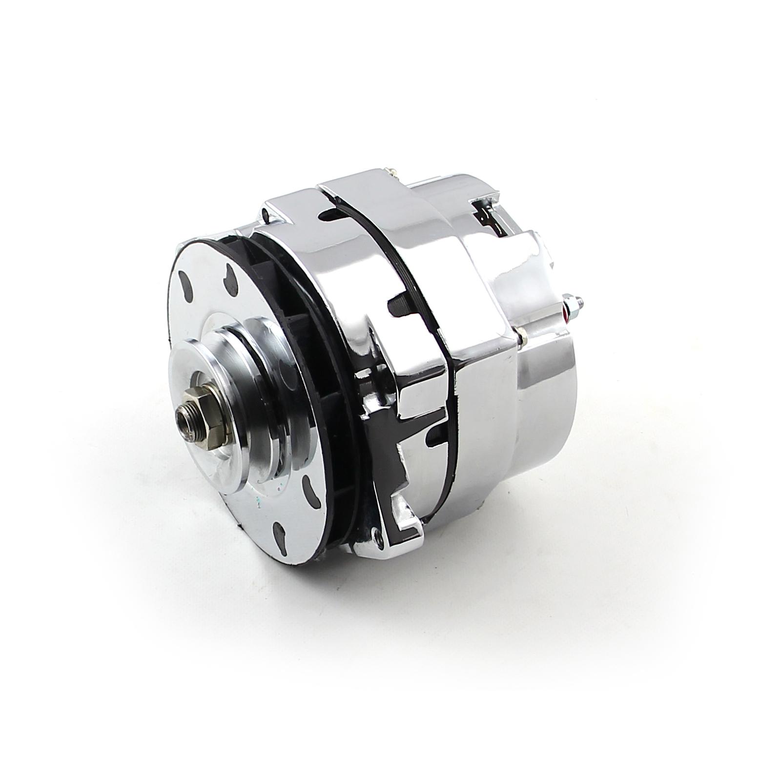 Universal Chrome 1 - 3 Wire 100-120 Amp High Output Alternator w/ Phenolic Fan