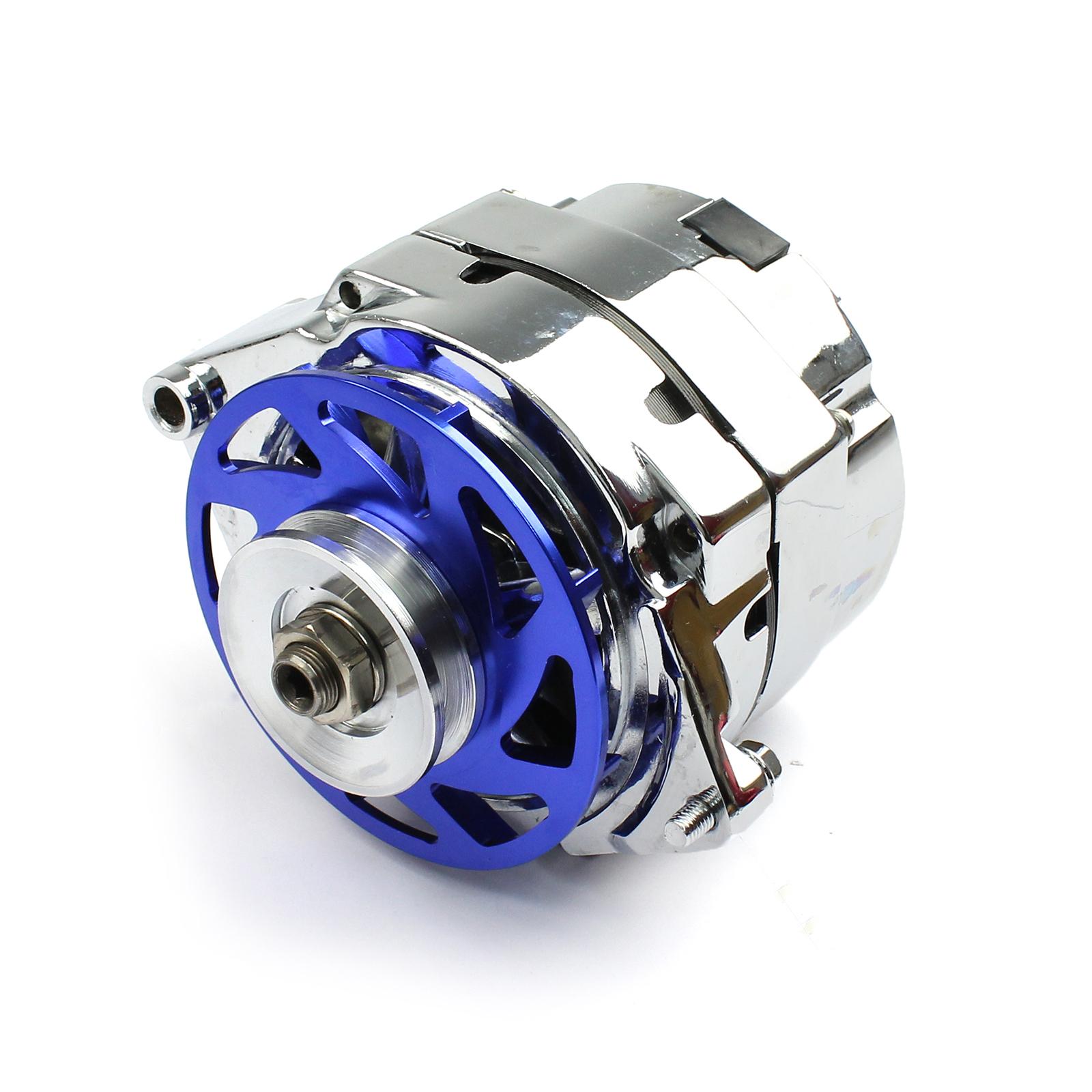 GM 100 Amp 1 Wire Internal Regulator High Output Alternator w/ Billet Fan Blue