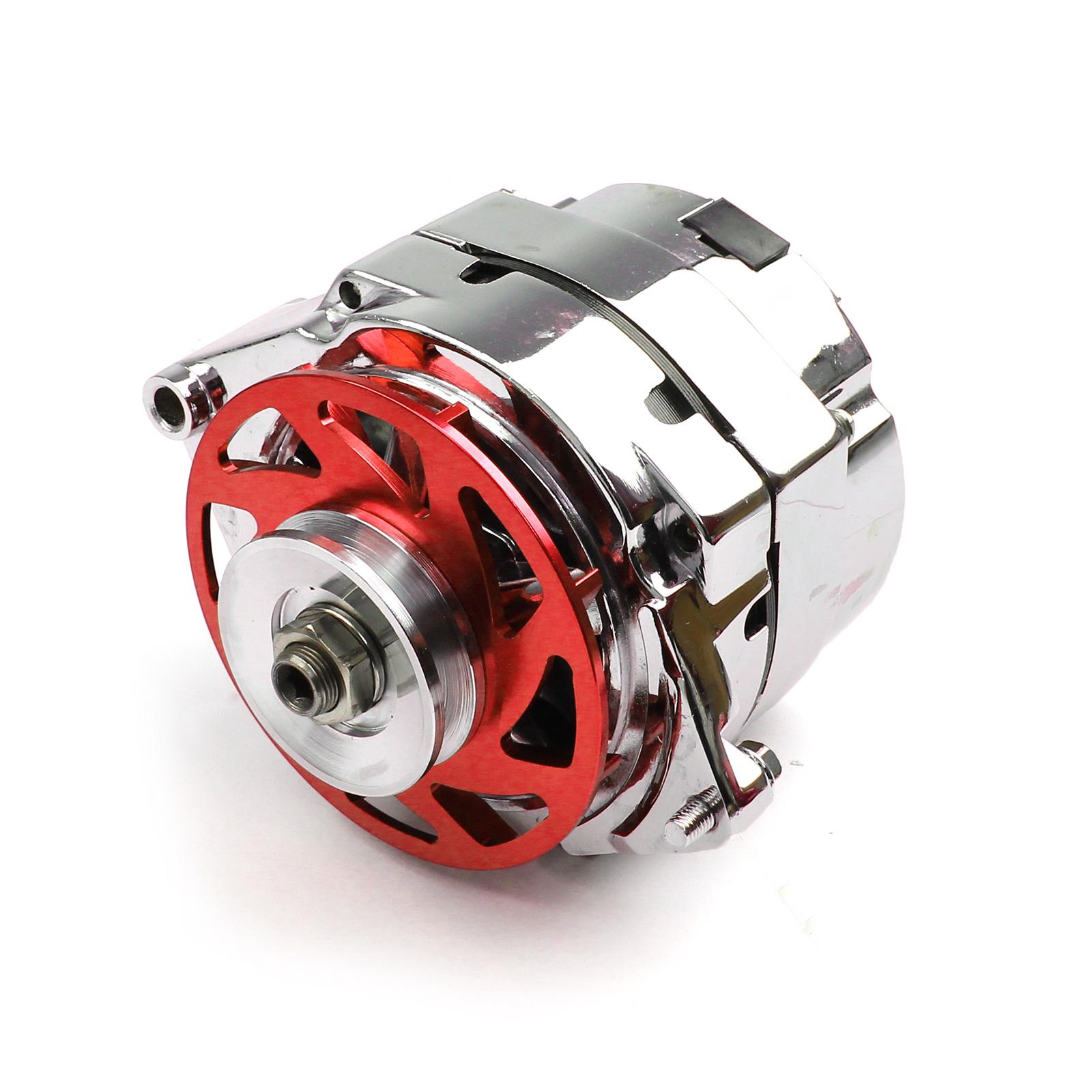 GM 100 Amp 1 Wire Internal Regulator High Output Alternator w/ Billet Fan Red
