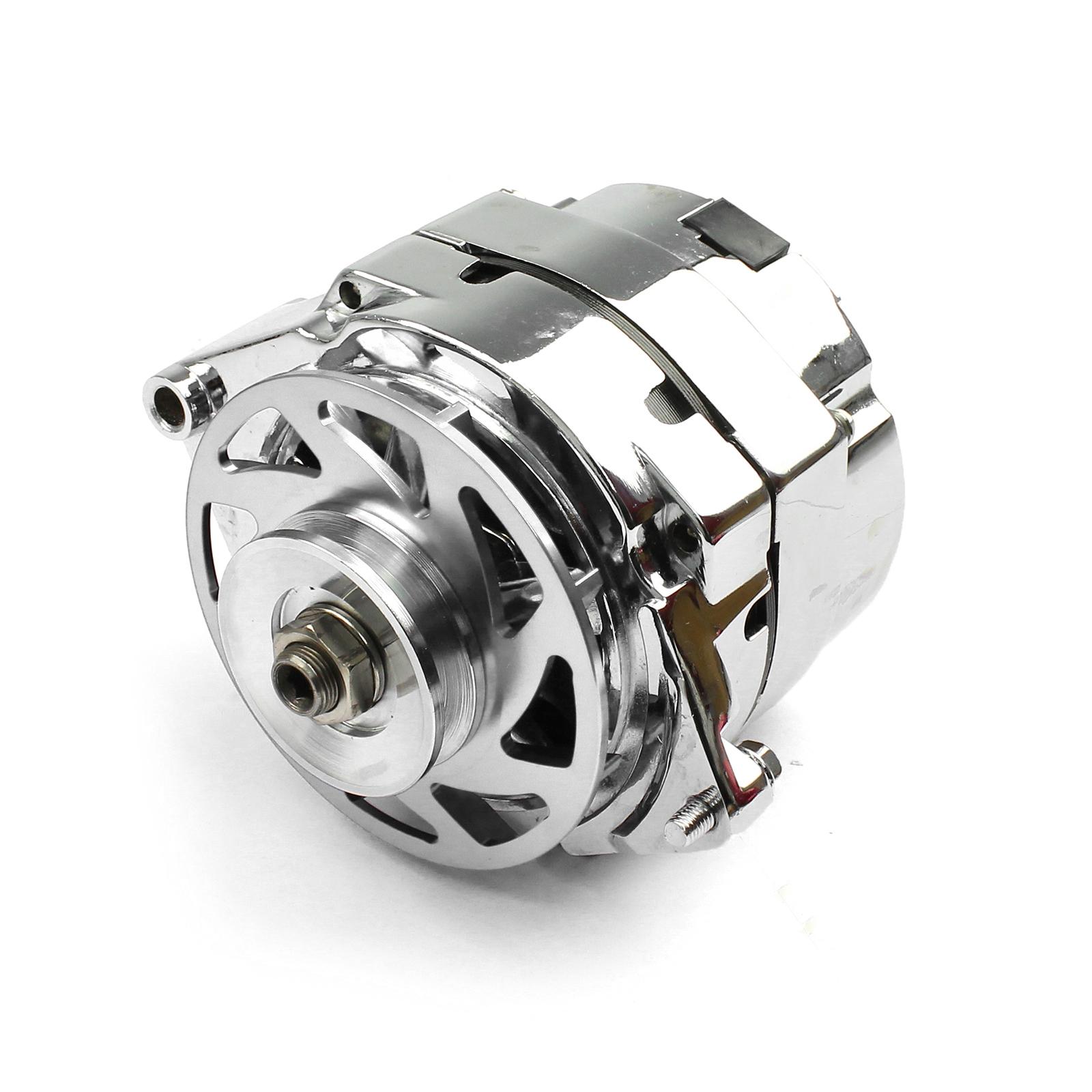GM 100 Amp 1 Wire Internal Regulator High Output Alternator w/ Billet Fan Silver