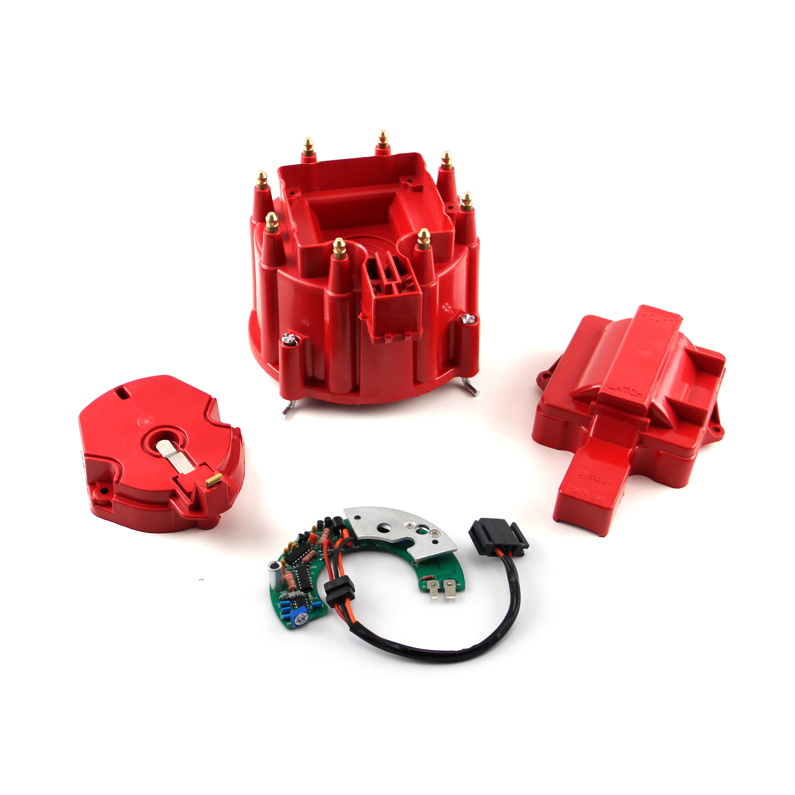 Chevy SBC BBC HEI Red Distributor Cap Rotor & Module Kit - Red