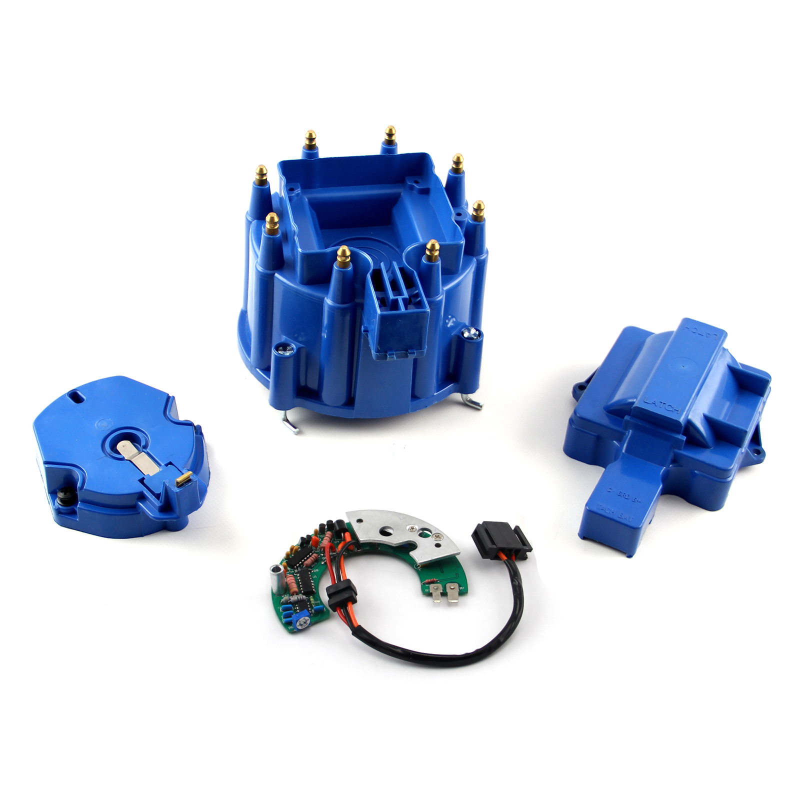Chevy SBC BBC HEI Red Distributor Cap Rotor & Module Kit - Blue