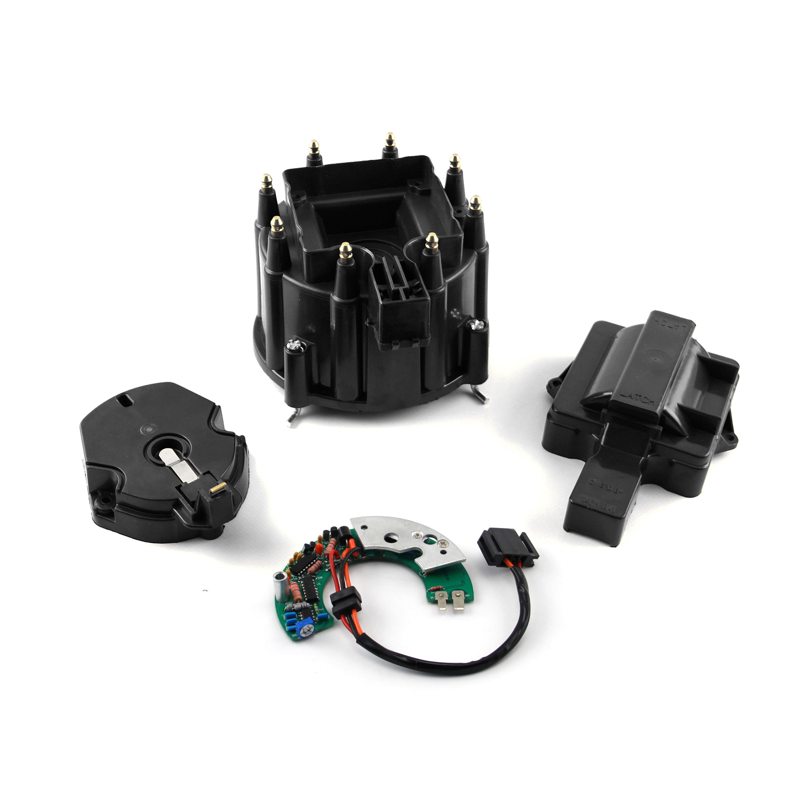 Chevy SBC BBC HEI Distributor Cap Rotor & Module Kit - Black