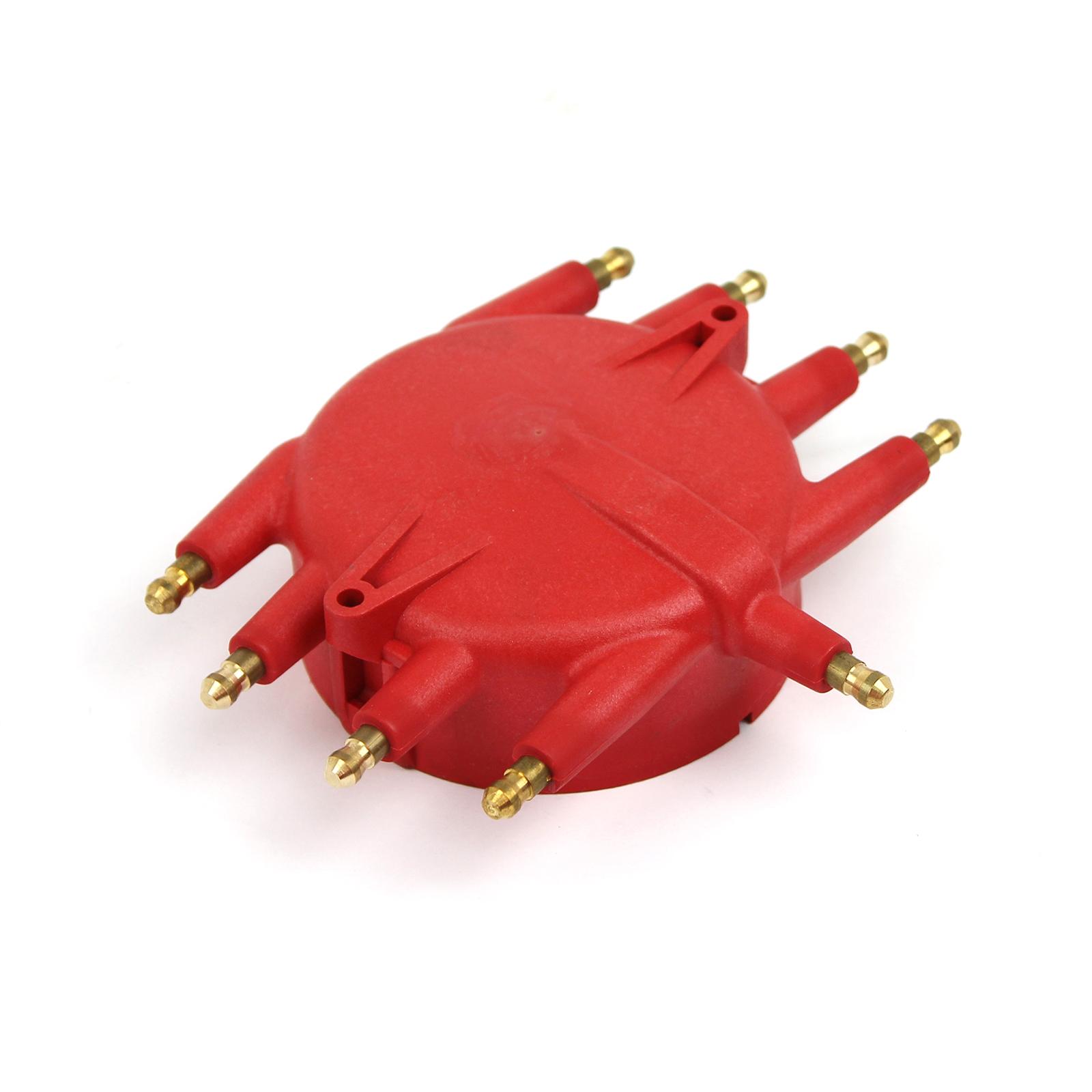Male/HEI Screw-Down Flathead Crab Distributor Cap - Red