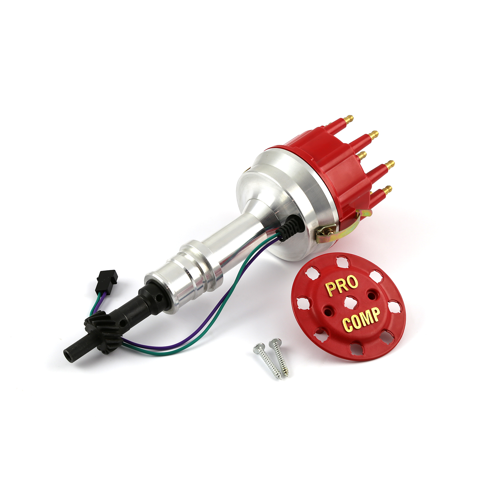 Ford 351W Windsor 8400 Series Race Pro Billet Aluminum Distributor - Red Cap