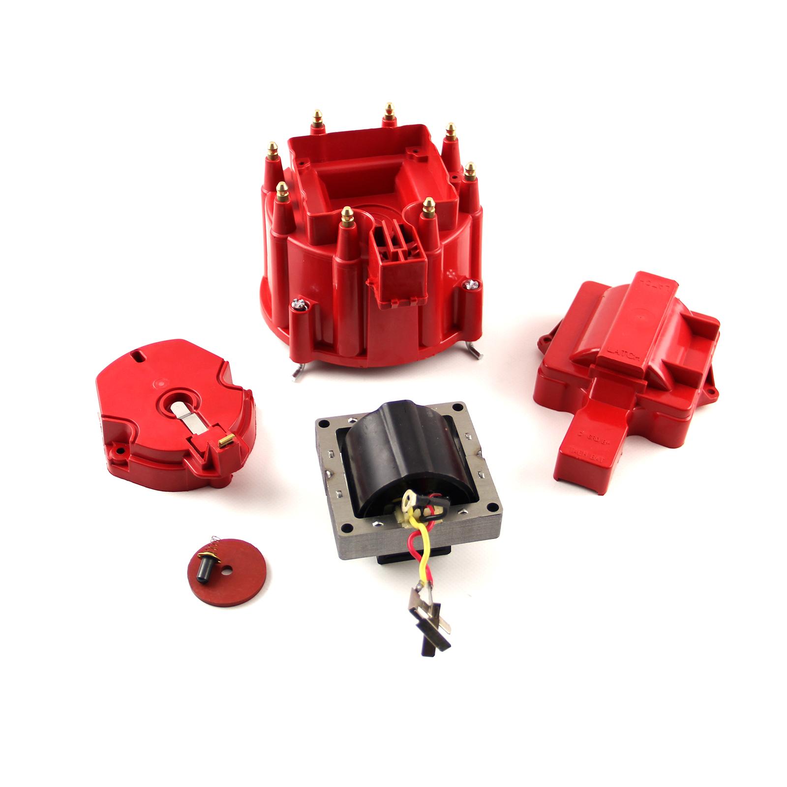 HEI Distributor Cap Rotor 65K Coil Cover Red Upgrade Kit