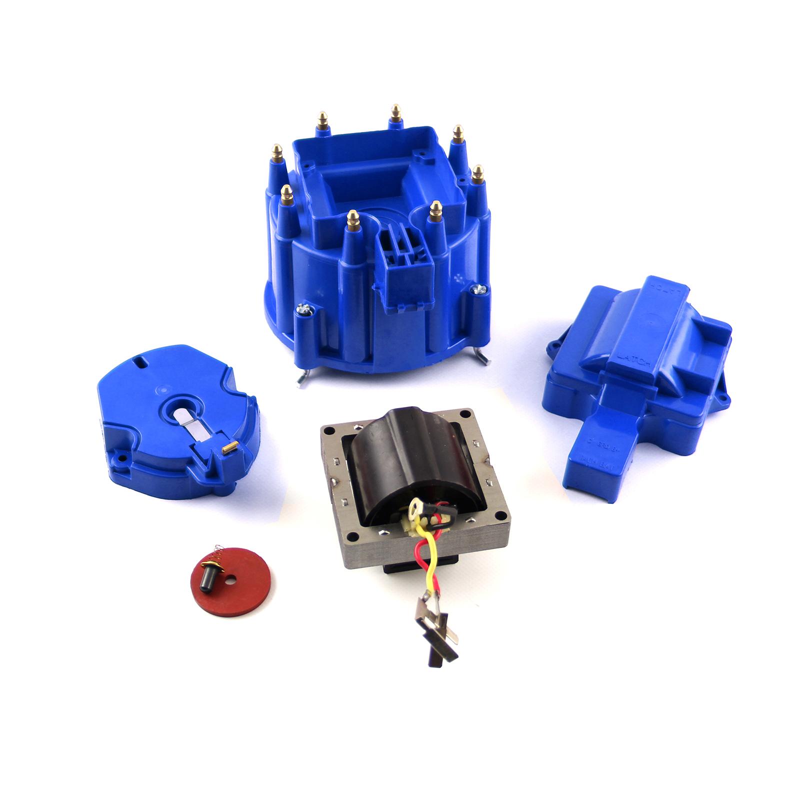 HEI Distributor Cap Rotor 65K Coil Cover Blue Upgrade Kit