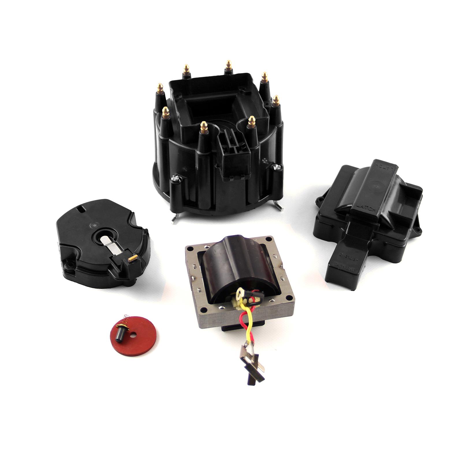 HEI Distributor Cap Rotor 65K Coil Cover Black Upgrade Kit