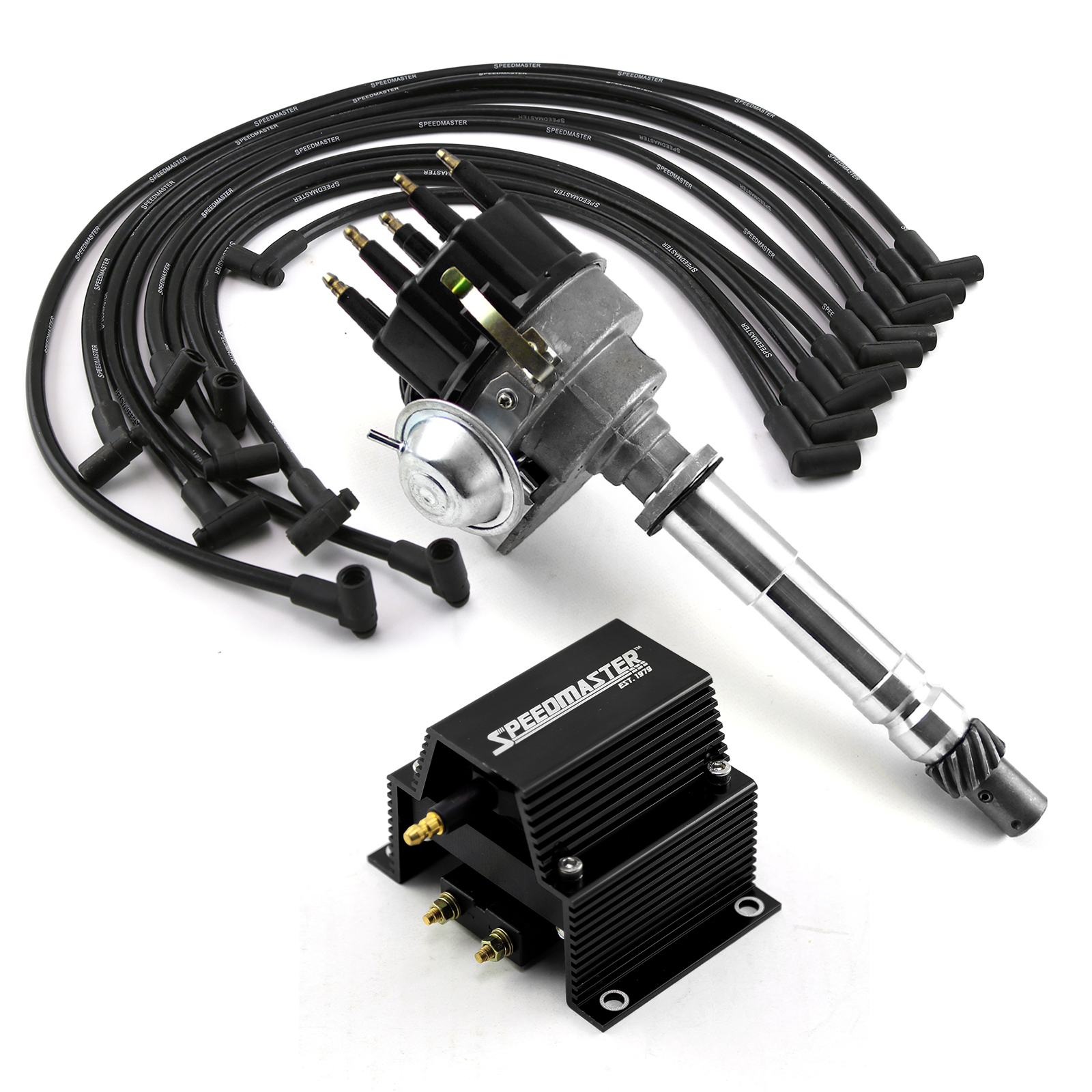 Chevy SBC 350 BBC 454 Ready-to-run Black Ignition Distributor Combo