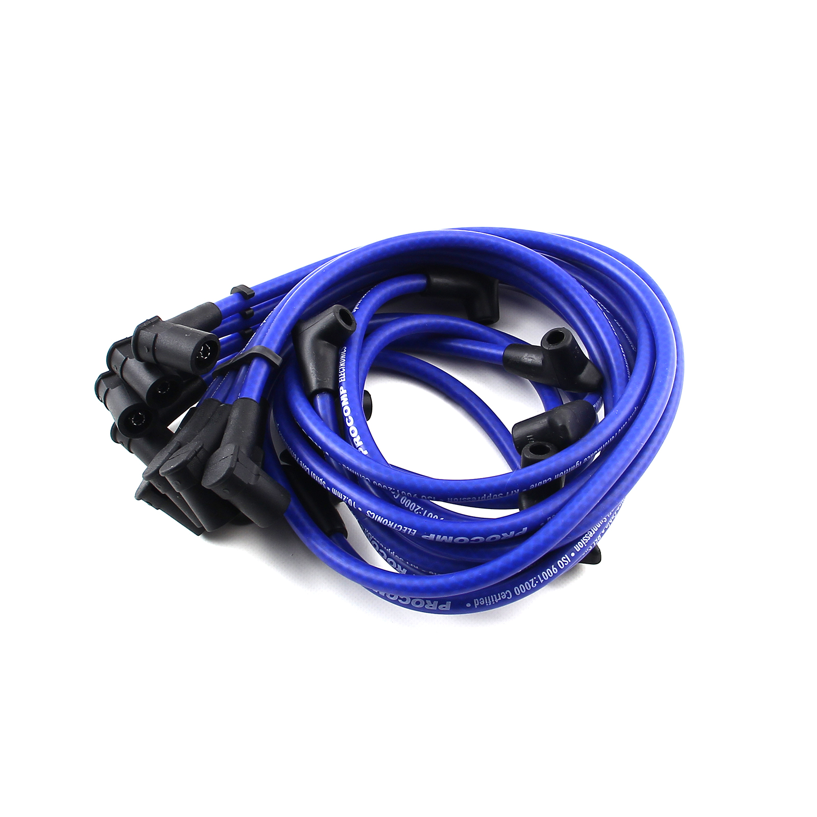 Universal 90 Deg to 90 Deg Over Covers Female Blue Spark Plug Wires Suits Chevy