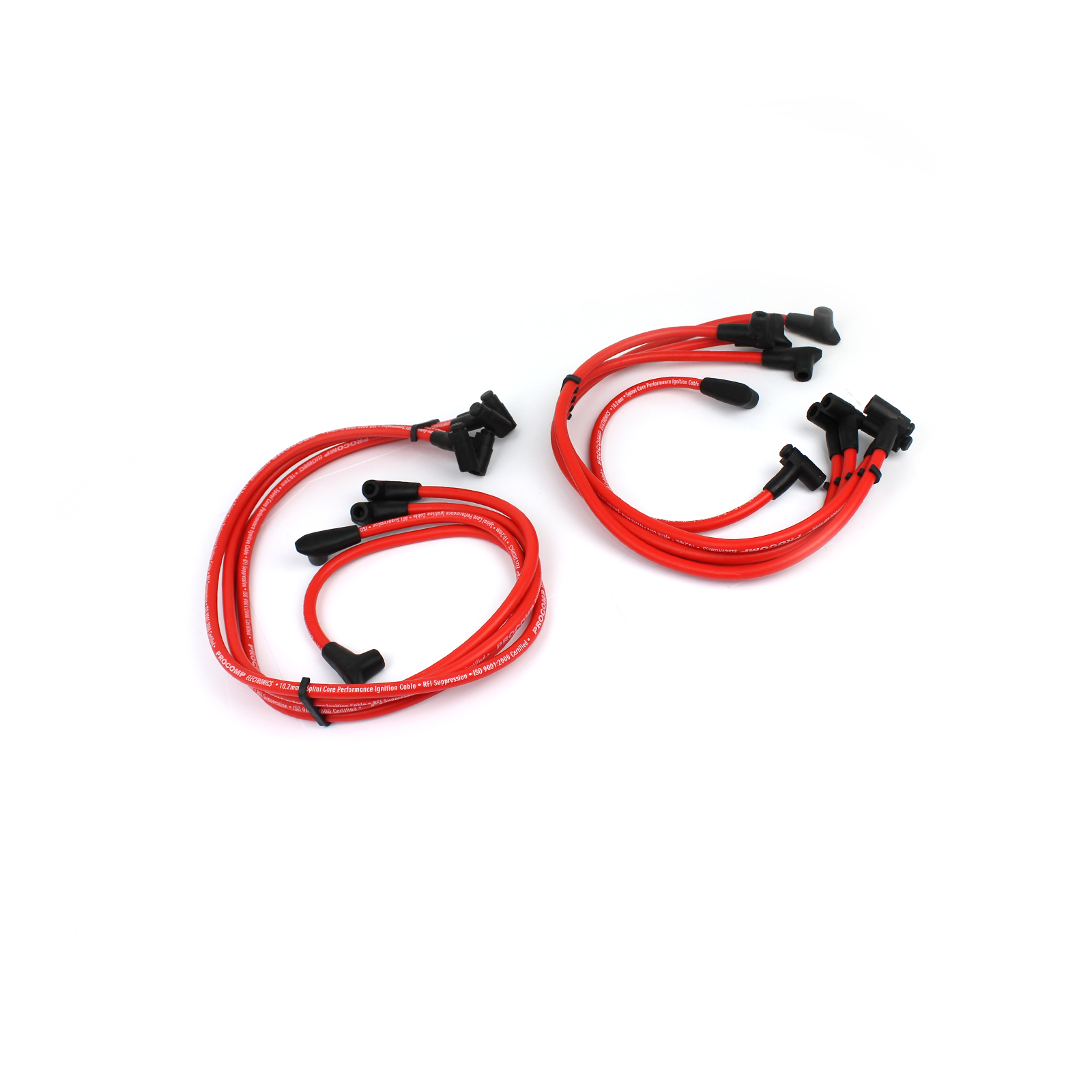 Universal 90 Deg to 90 Deg Over Covers Male Red Spark Plug Wires suit Chevy