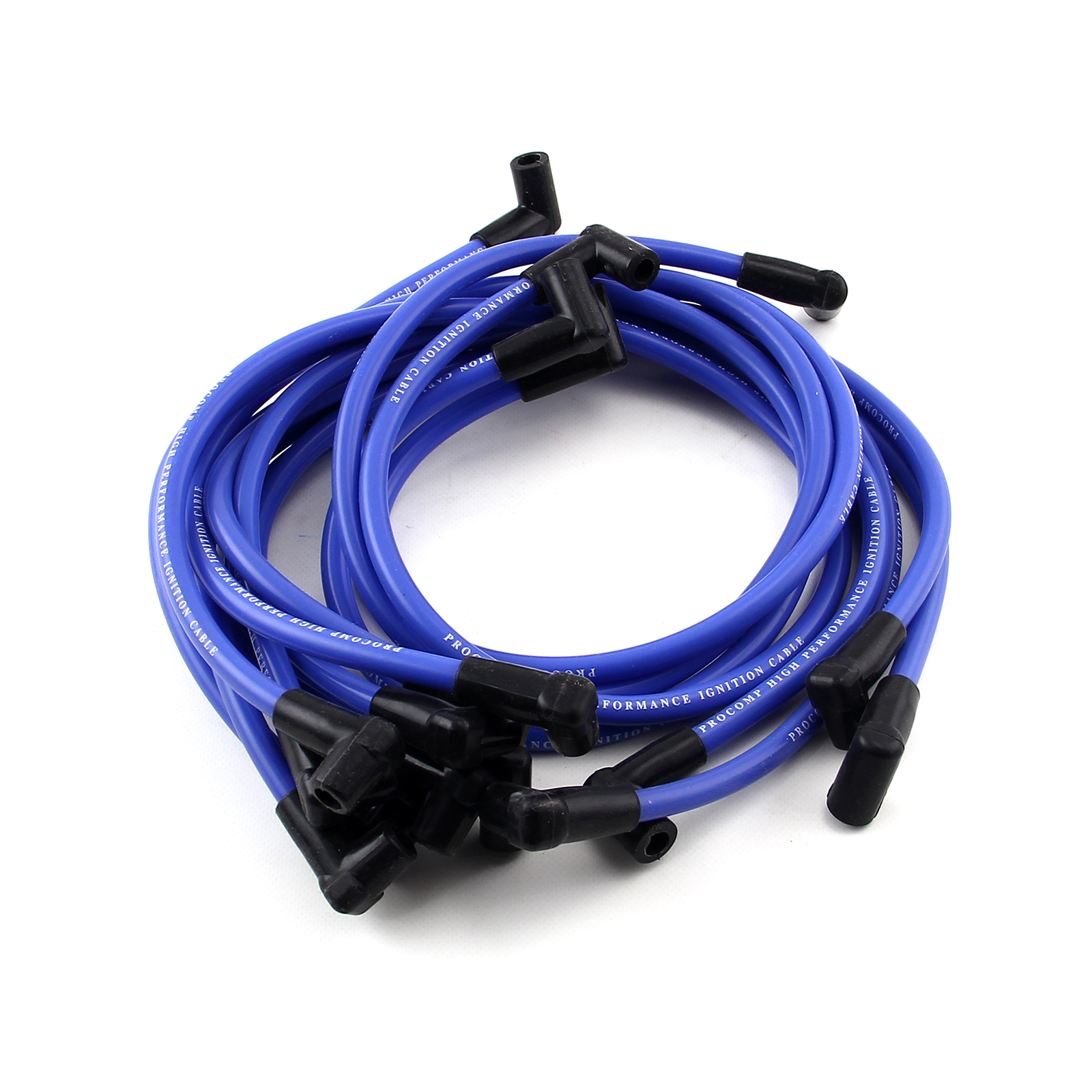 Universal 90 Deg to 90 Deg Over Covers Male Blue Spark Plug Wires Suits Chevy