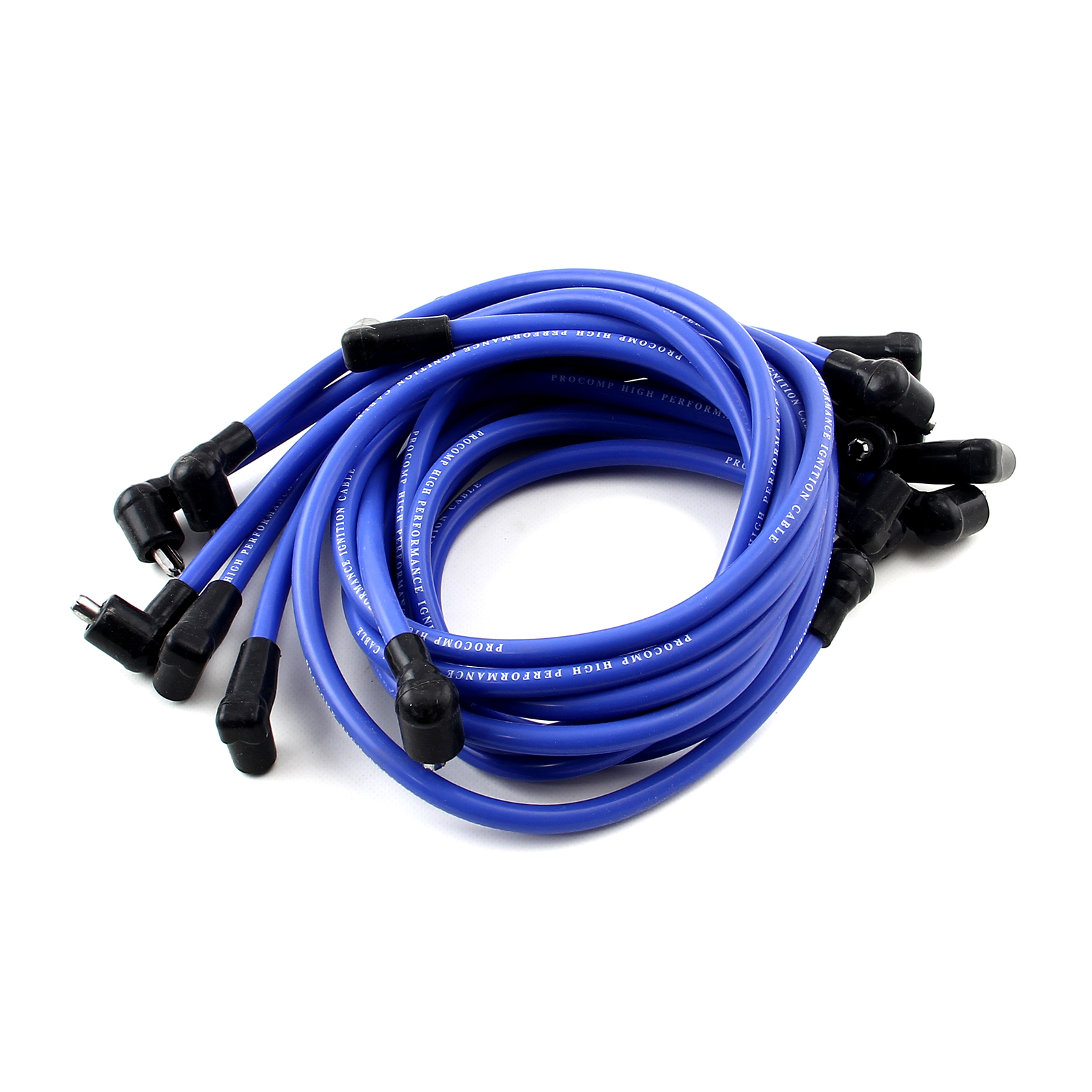 Universal 90 Deg to 90 Deg Under Covers Female Blue Spark Plug Wires Suits Chevy
