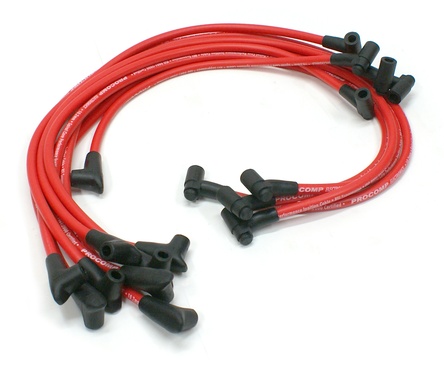 Universal 90 Deg to 90 Deg Under Covers Male Red Spark Plug Wires Suits Chevy