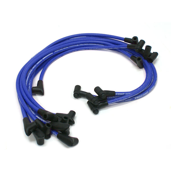 Universal 90 Deg to 90 Deg Under Covers Male Blue Spark Plug Wires Suits Chevy