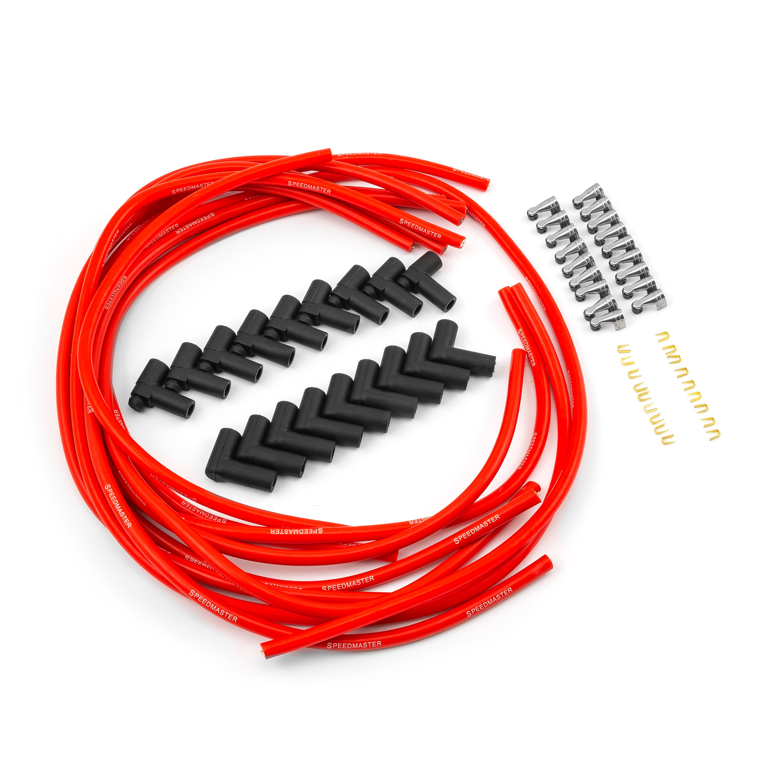 90 Deg to 90 Deg Non Terminated Under Covers Male Red Spark Plug Wires - Chevy