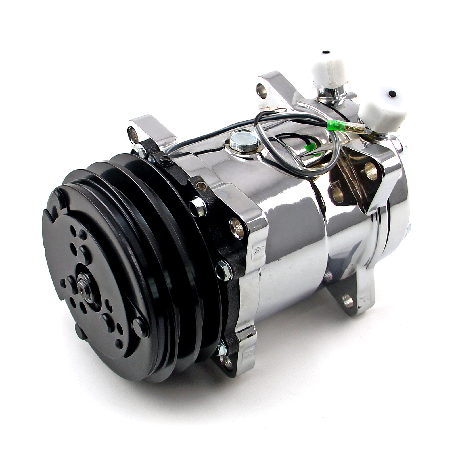 V-Belt Sanden 508 Style Chrome Air Compressor AC Air Conditioning