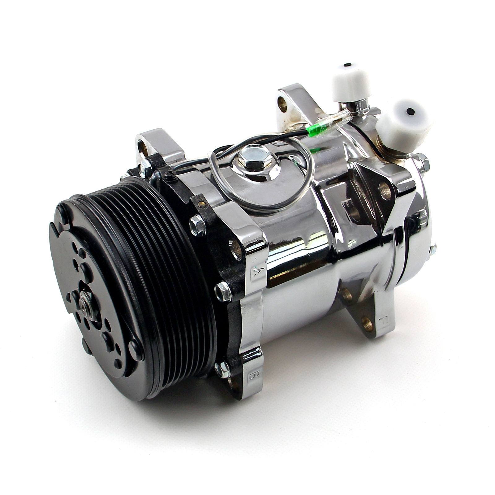Serpentine Belt Sanden 508 Style Chrome Air Compressor AC Air Conditioning