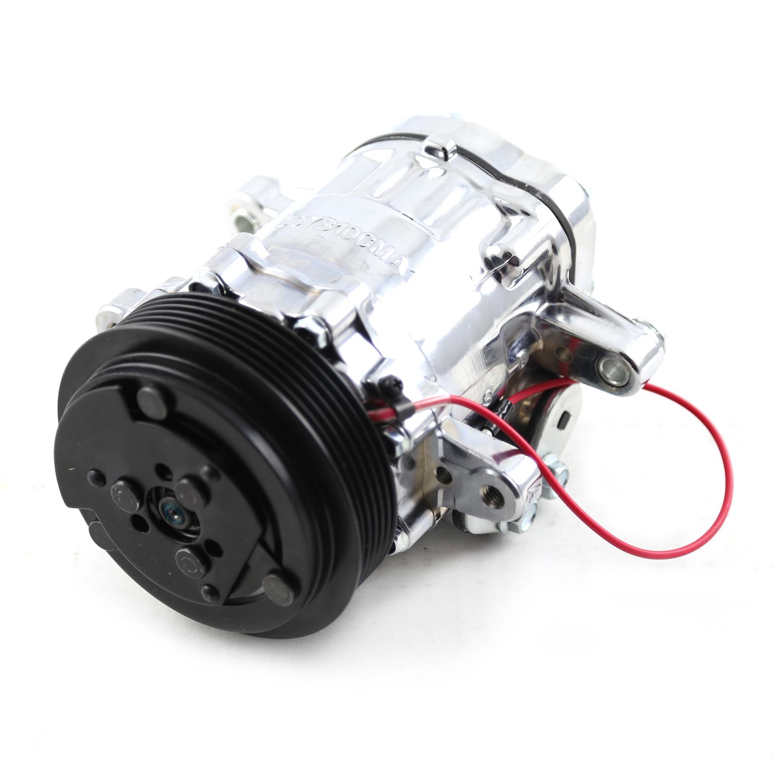Serpentine Belt Sanden Style 7176 Small Body Chrome Air Compressor