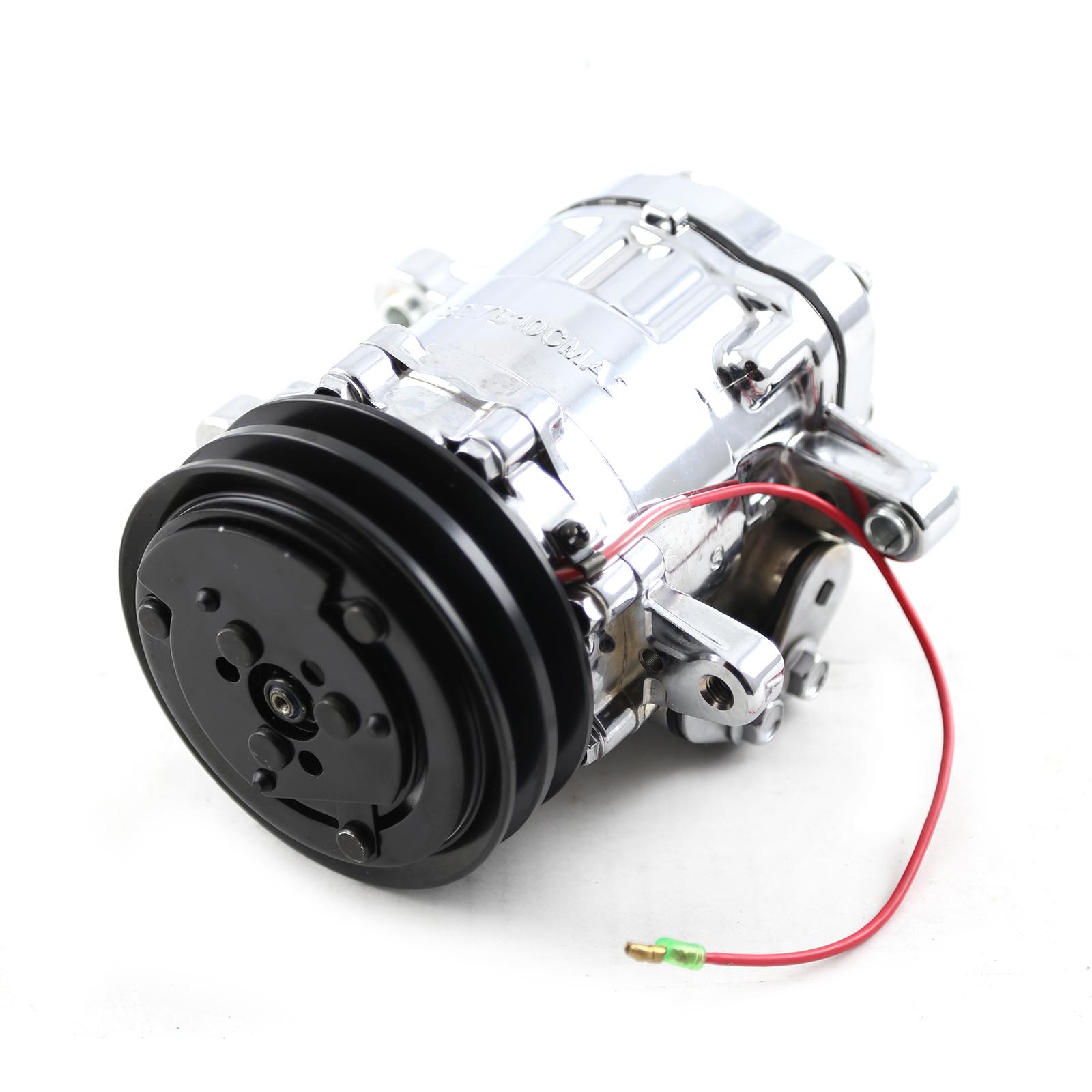 V Belt Sanden Style 7176 Small Body Chrome AC Air Compressor