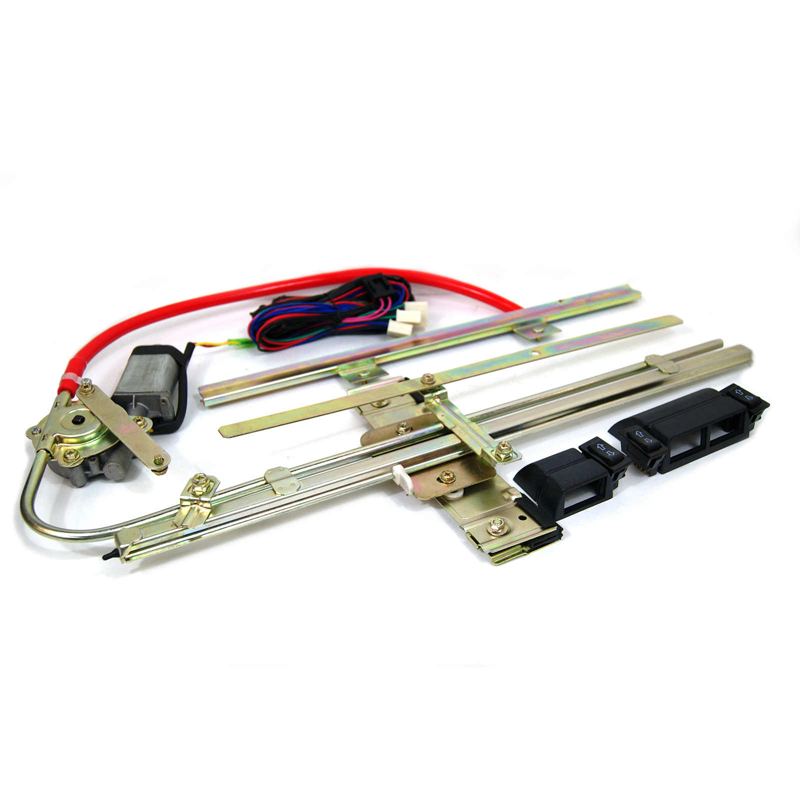 2 Door Flat Glass Power Window Kit w/ Switches