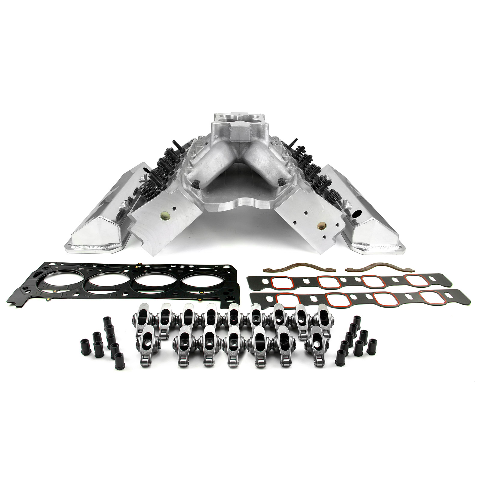 PCE® PCE435.1057 Ford 351W 9.5 Deck Fusion Manifold Hyd FT Cylinder Head Top End Engine Combo Kit
