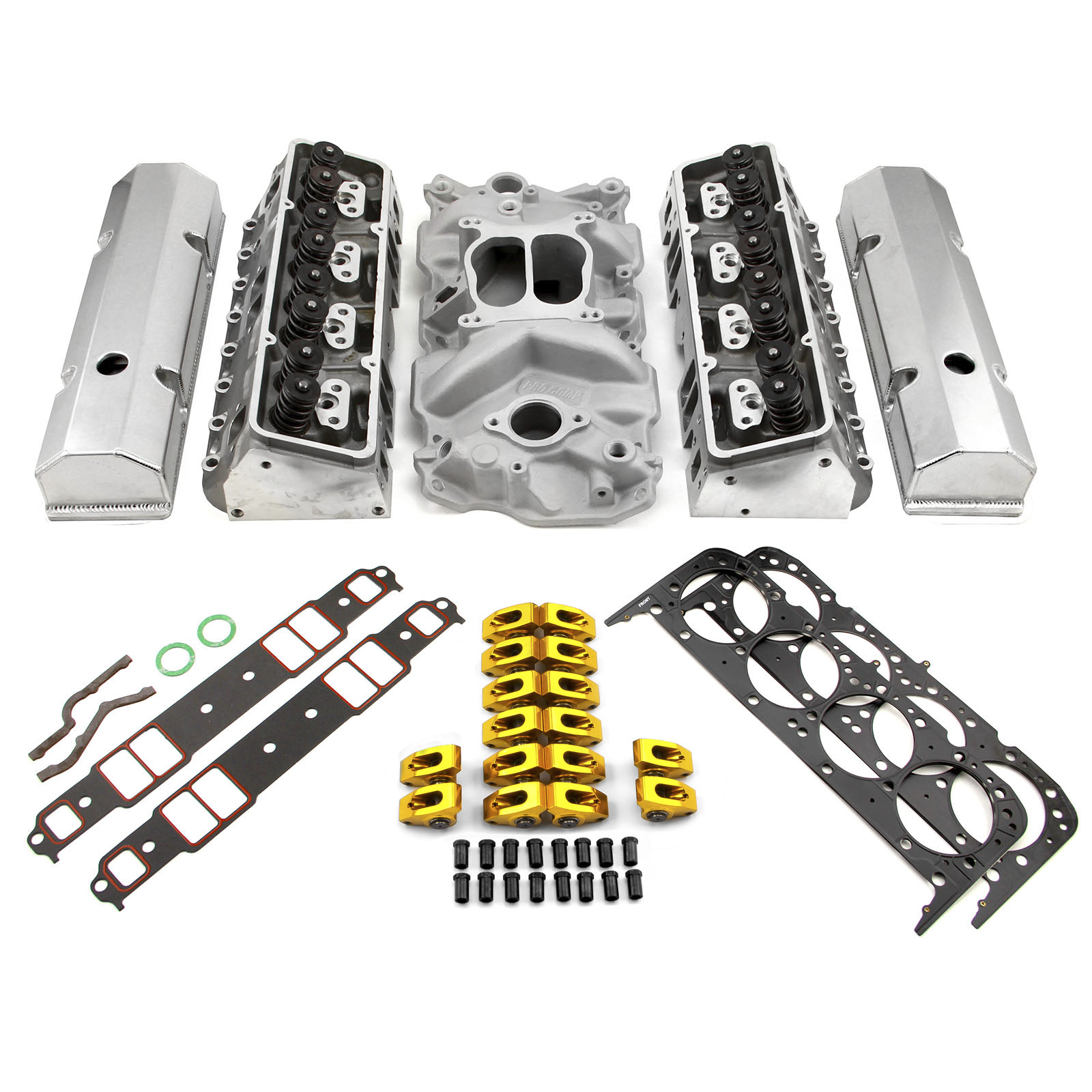 Chevy SBC 350 Hyd FT 220cc Angle Plug Cylinder Head Top End Engine Combo Kit