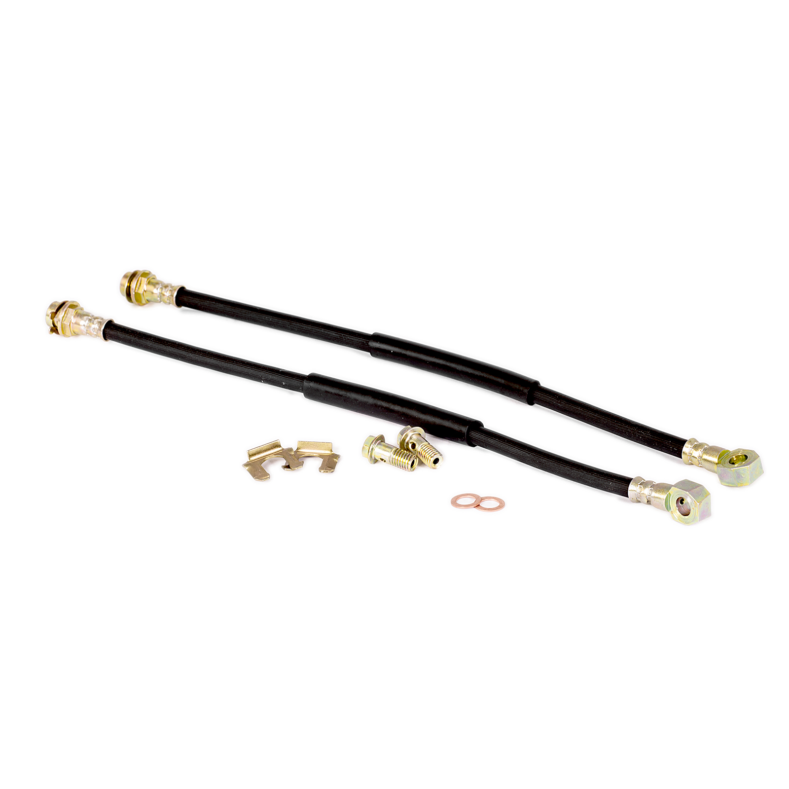 "10mm Banjo 18"" Long Rubber Brake Lines with Hardware"