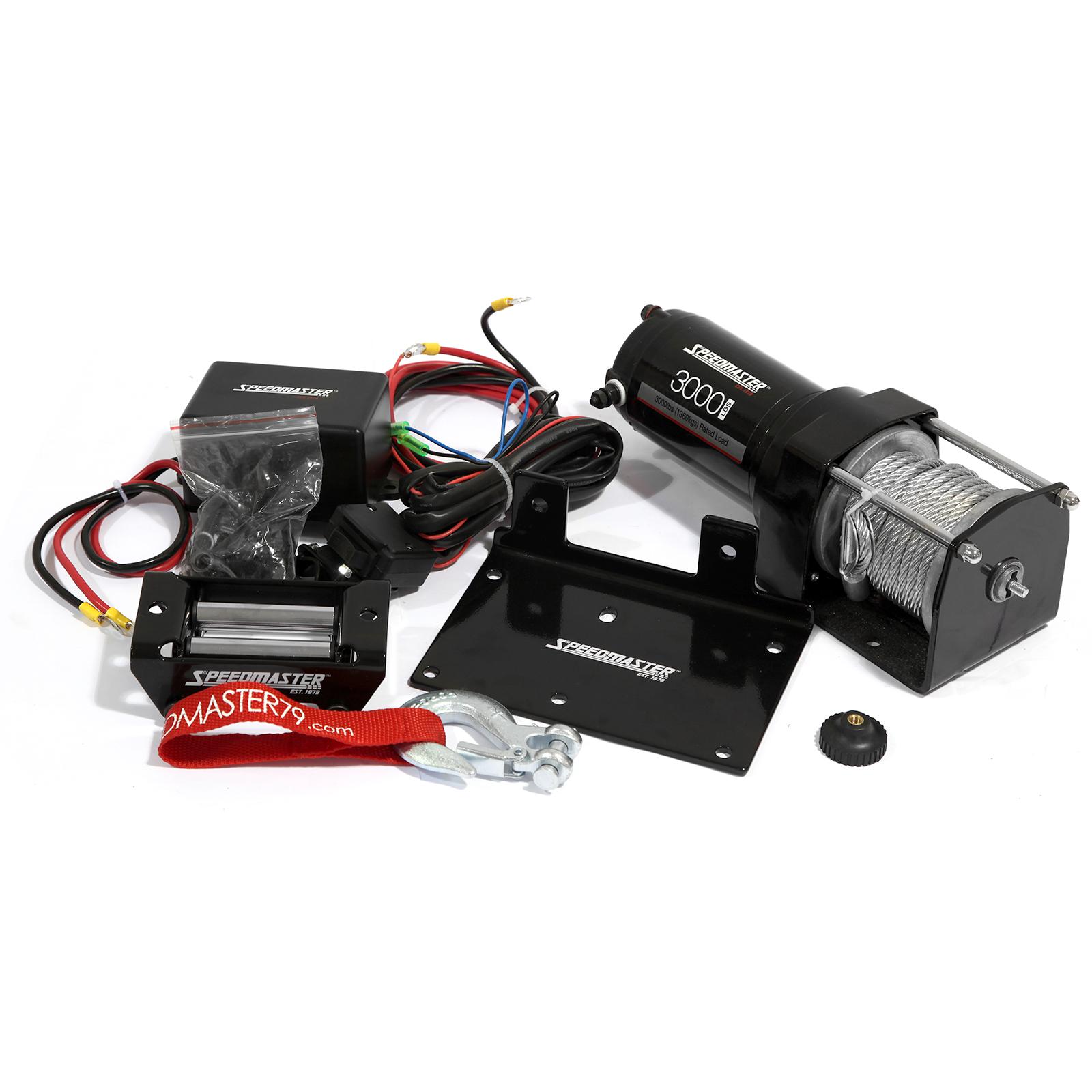 Speedmaster 3000lbs / 1360kgs 12V Electric ATV Winch Kit w/ Remote Switch