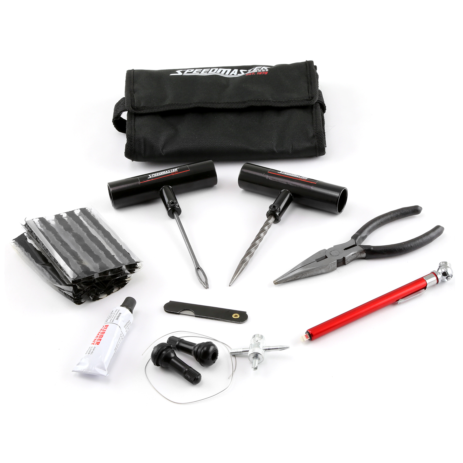 31pc Tire Puncture Repair Kit Fix Motorcycle Car Truck - Roll-Up Soft Case