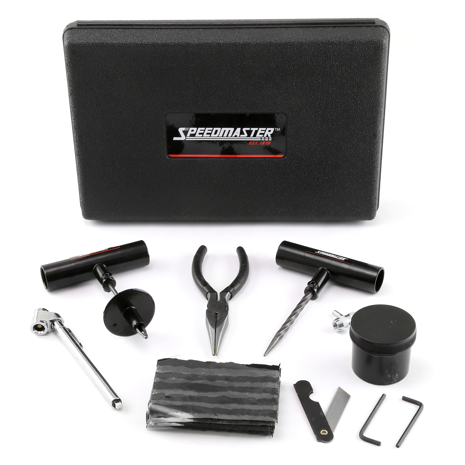 30pc Tire Puncture Repair Kit Fix Motorcycle Car Truck - Hard Case