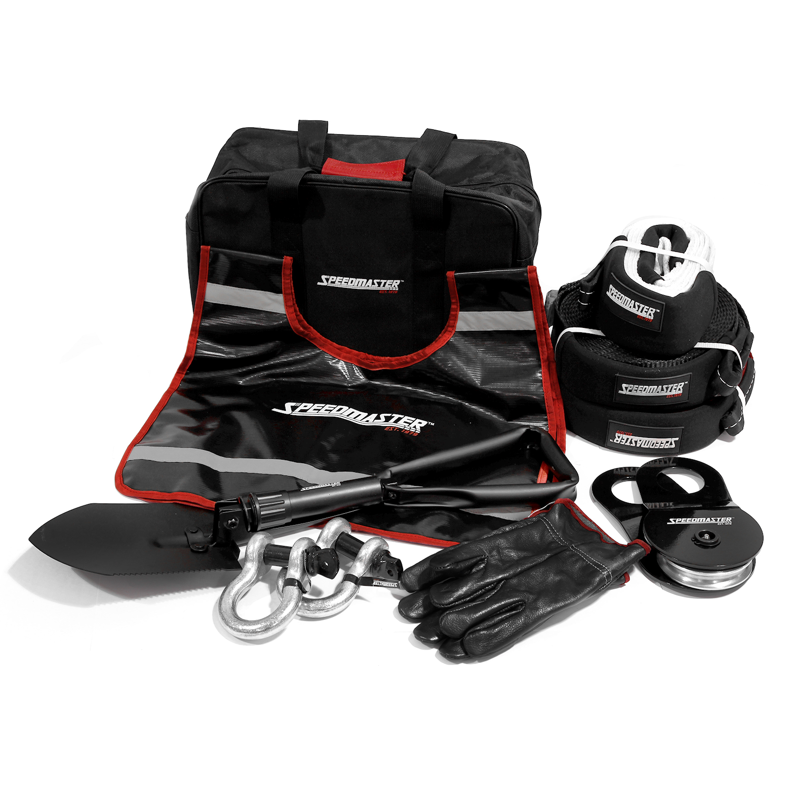 Speedmaster 4WD Winch Recovery Kit Plus (Snatch Shackle Straps Gloves Bag) 10pc