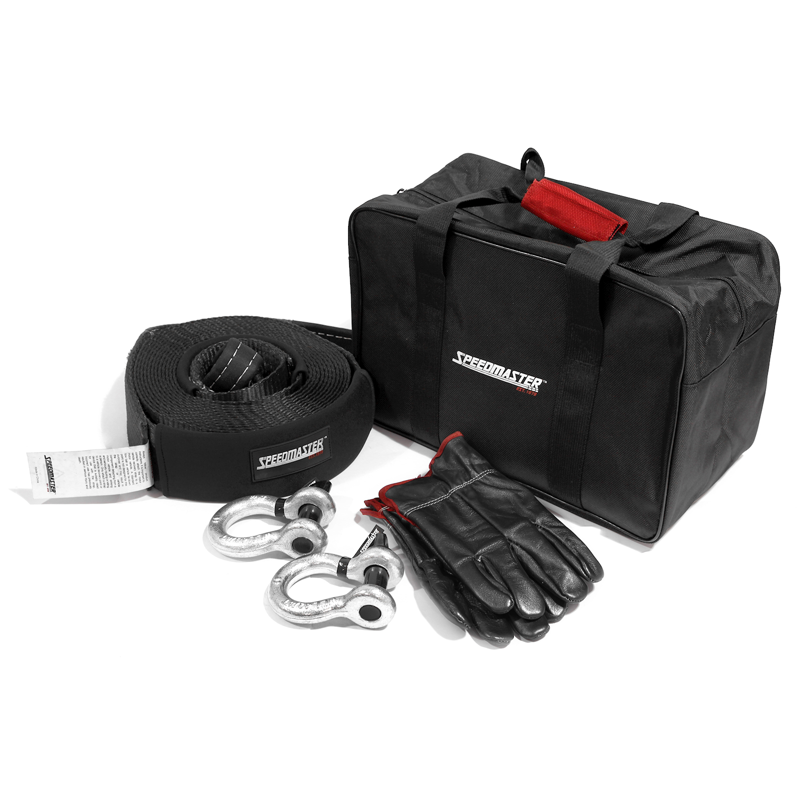 Speedmaster 4WD Winch Recovery Kit (Shackle Straps Gloves Bag) 5pc
